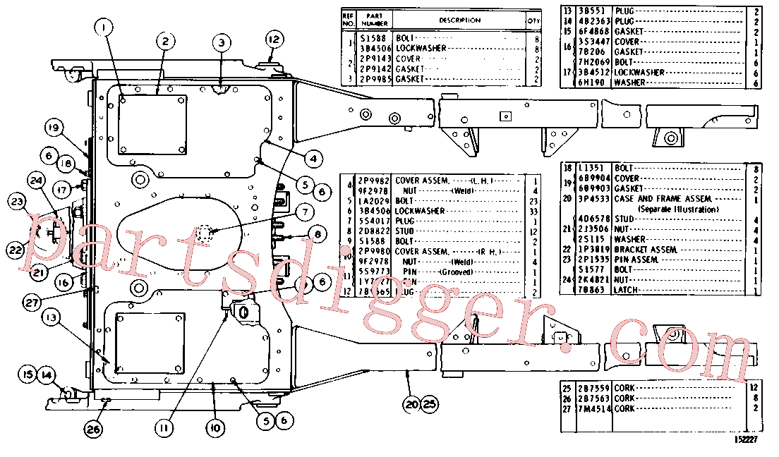 CAT 3B-0645 for 3512B Locomotive Engine(IENG) chassis and undercarriage 3P-4534 Assembly