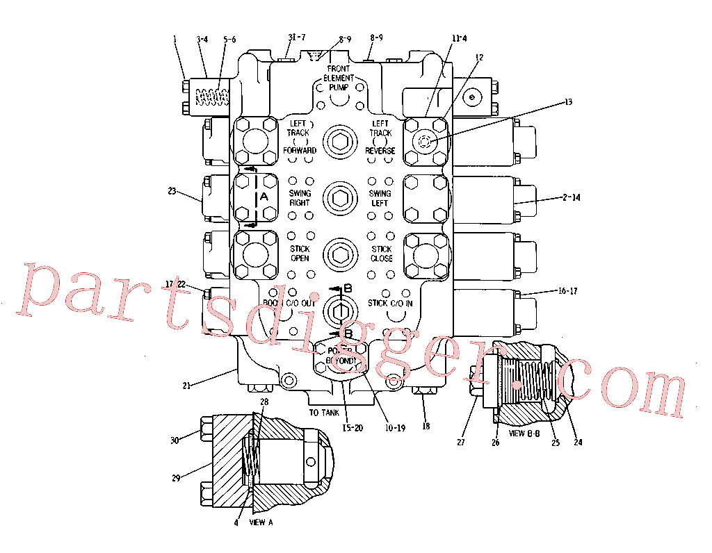 CAT 1U-1576 for 215 Excavator(EXC) hydraulic system 3G-8125 Assembly