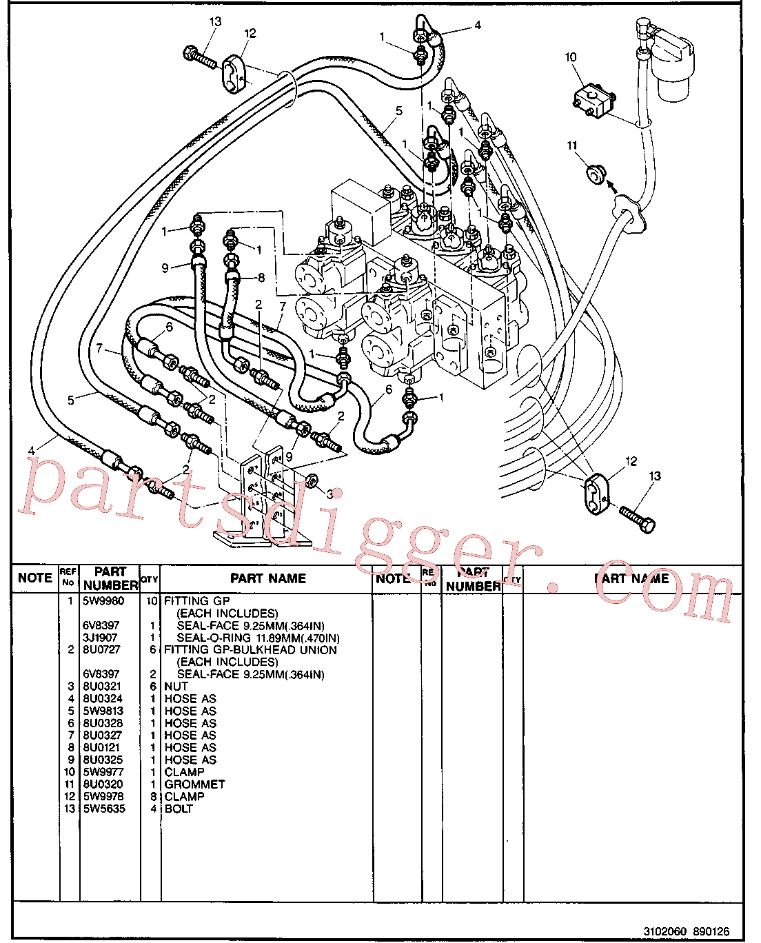 CAT 8U-0727 for 213B Excavator(EXC) hydraulic system 5W-9802 Assembly