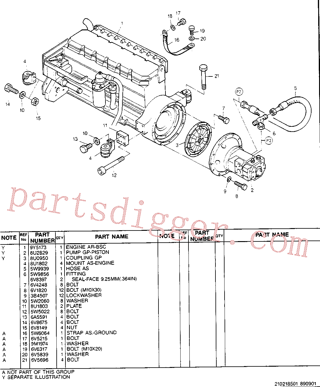 CAT 8T-0657 for CS-583C Vibratory Compactor(COMP) engine installation 8U-2709 Assembly