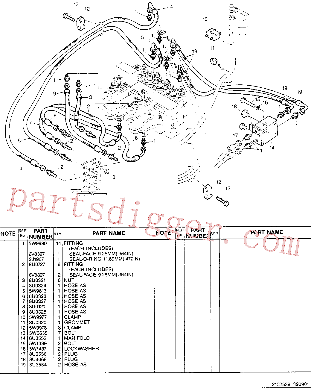CAT 8U-0727 for 214B Excavator(EXC) hydraulic system 5W-9817 Assembly