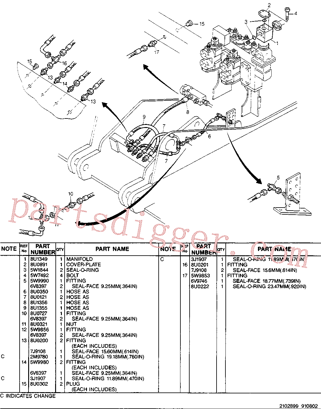 CAT 8U-0727 for 224B Excavator(EXC) hydraulic system 8U-1348 Assembly