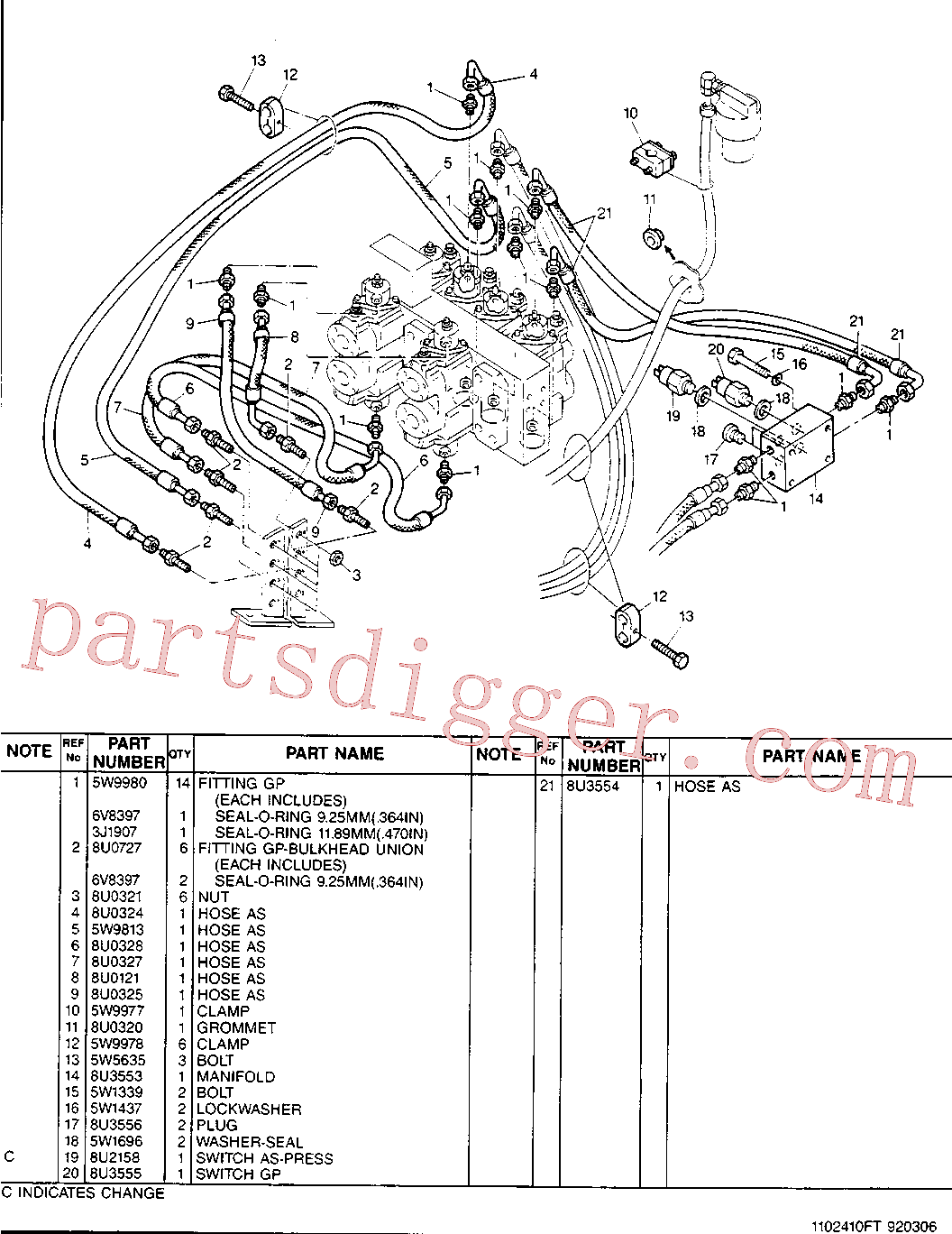 CAT 8U-0727 for 224B Excavator(EXC) hydraulic system 8U-3552 Assembly