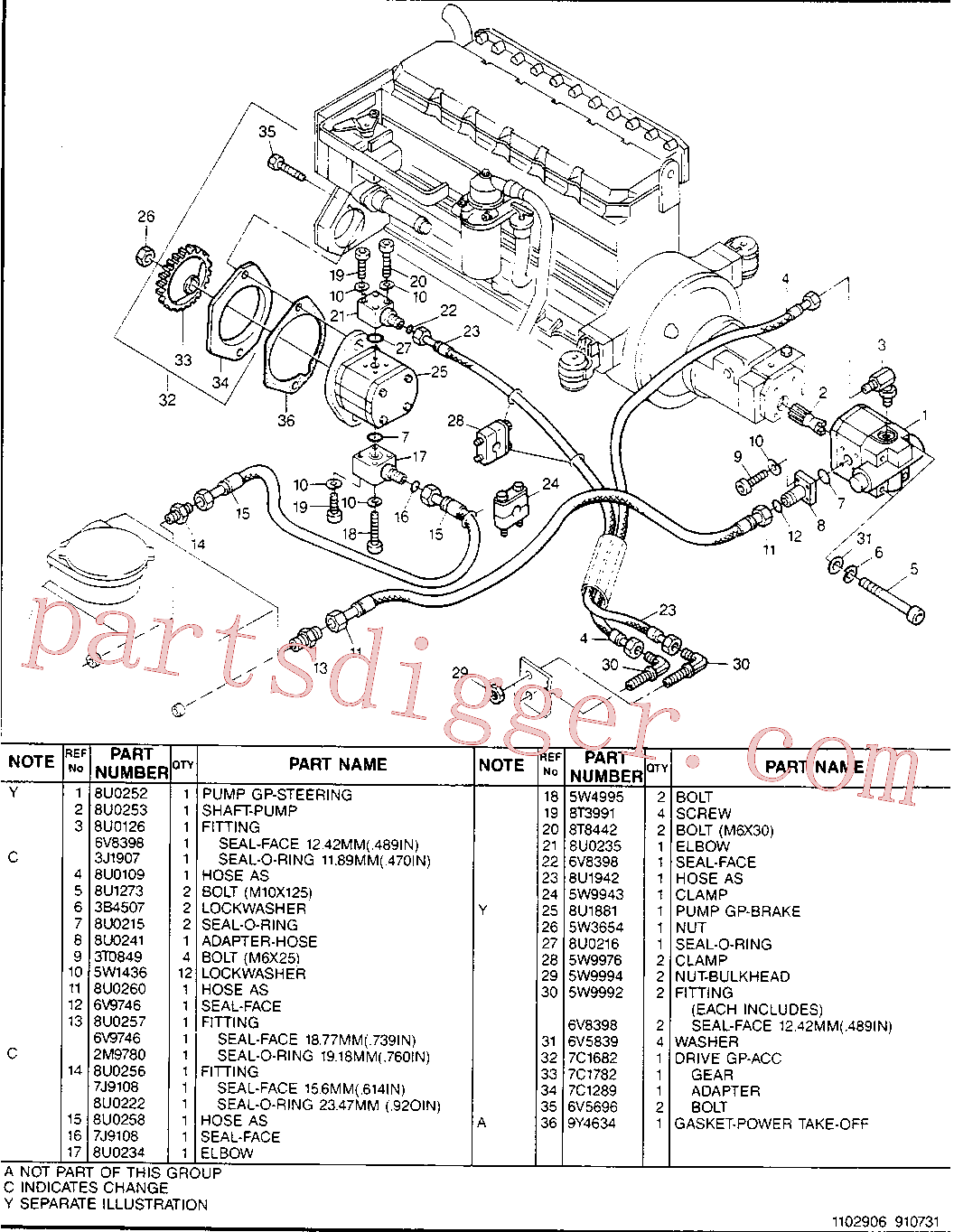 CAT 7C-1289 for 3116 Industrial Engine(IENG) hydraulic system 8U-0254 Assembly