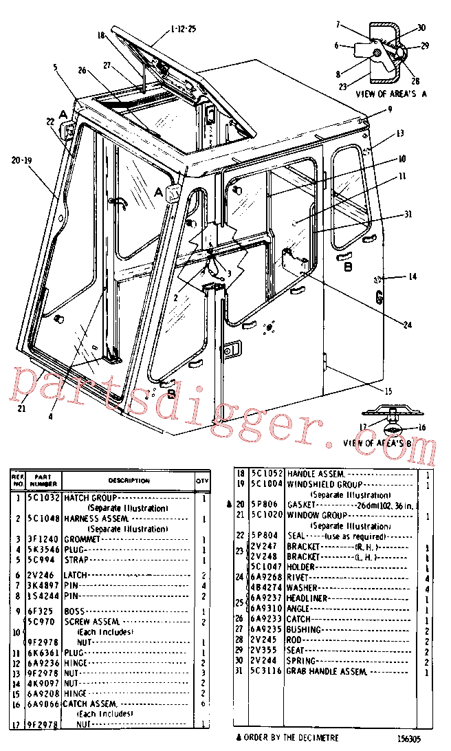 CAT 3B-4605 for D6R Track Type Tractor(TTT) cab, gauges and accessories 5C-0960 Assembly