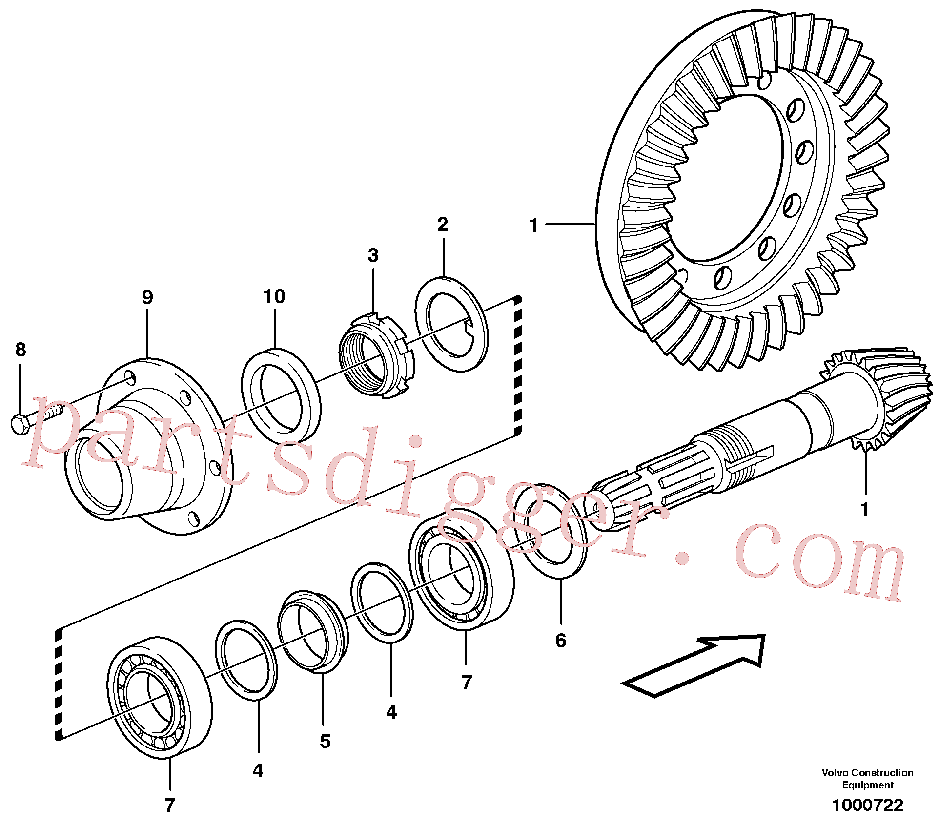 VOE11709290 for Volvo Pinion(1000722 assembly)