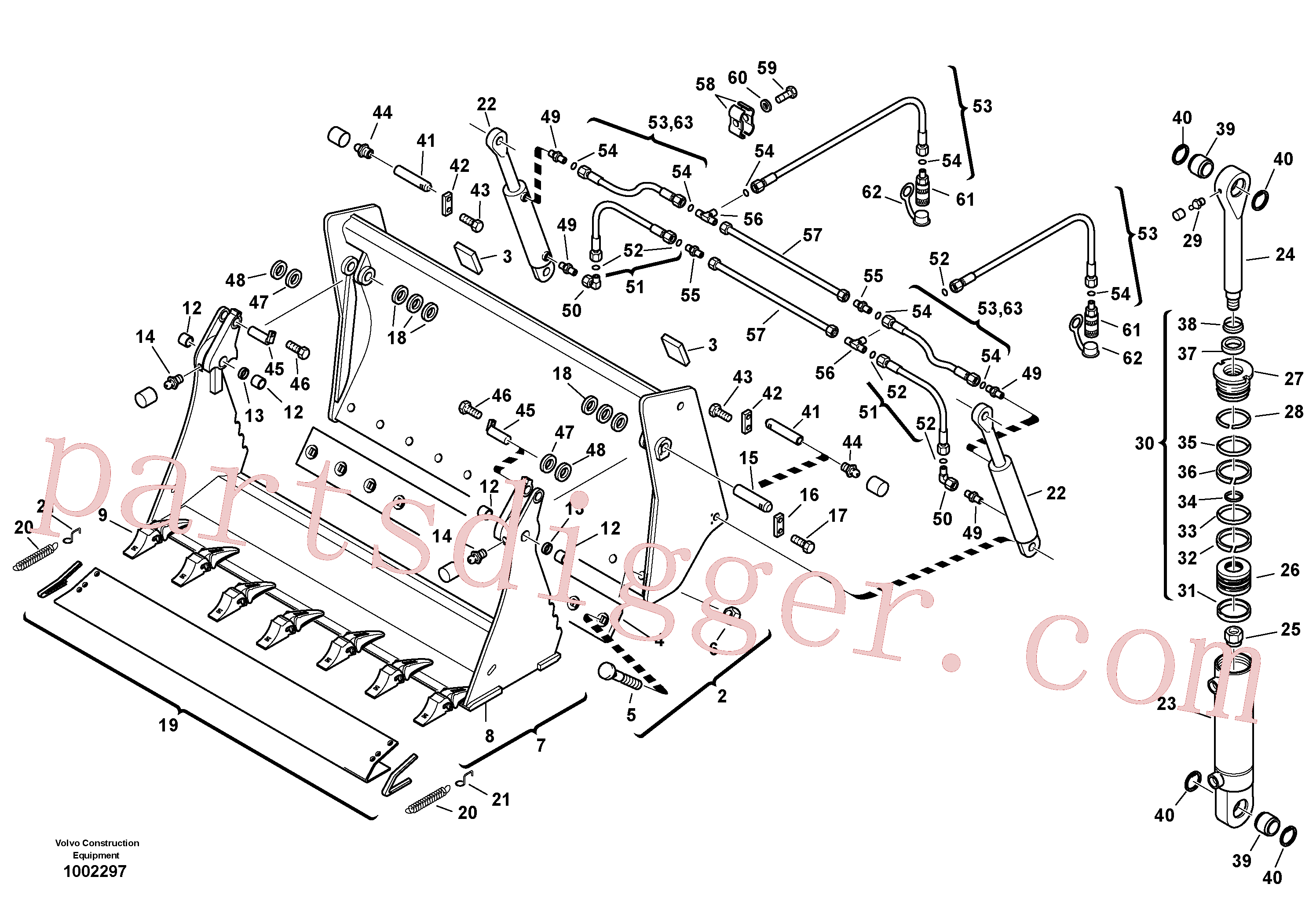 ZM2160270 for Volvo Shutter bucket with teeth(1002297 assembly)