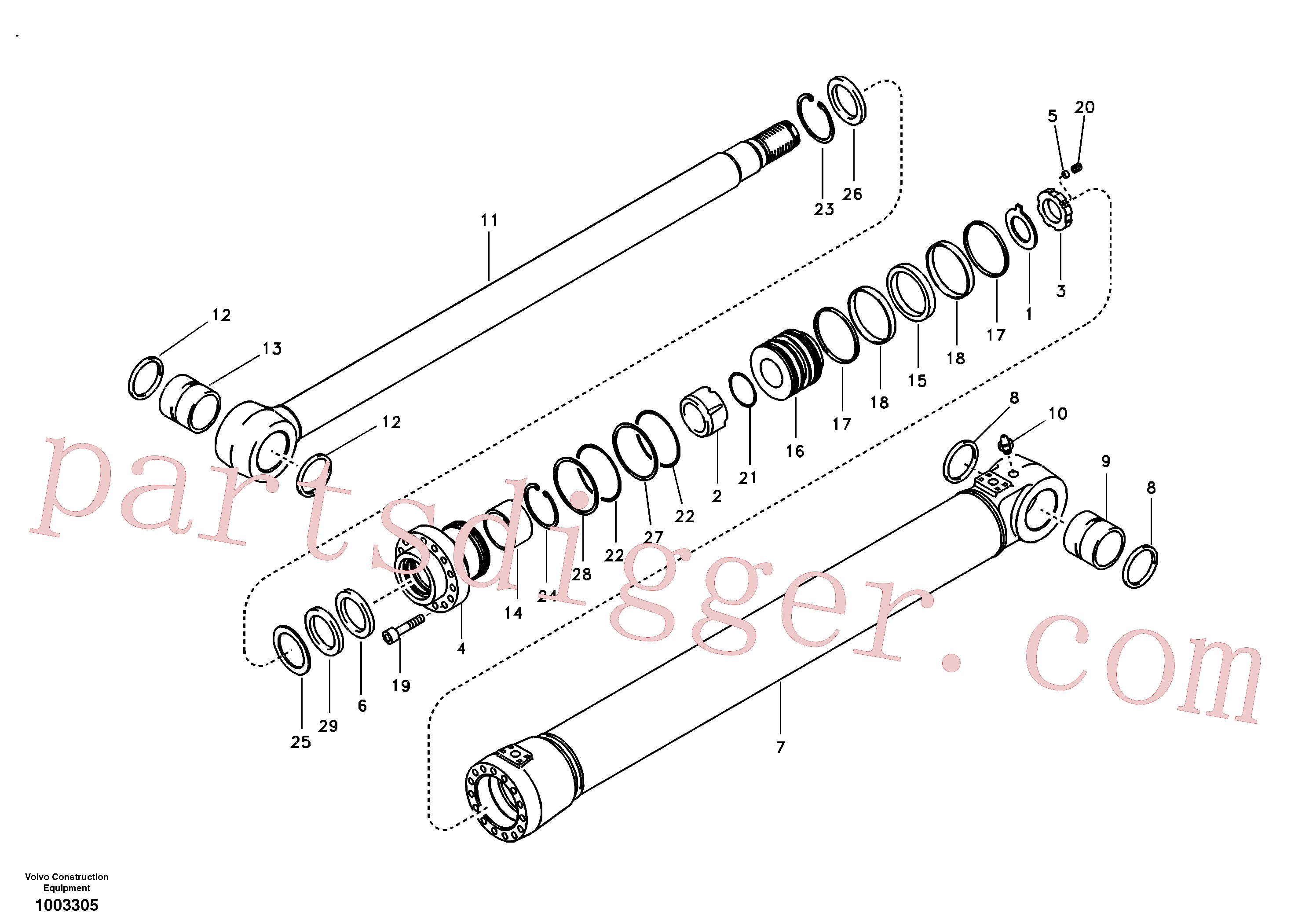 SA9511-12125 for Volvo Boom cylinder(1003305 assembly)