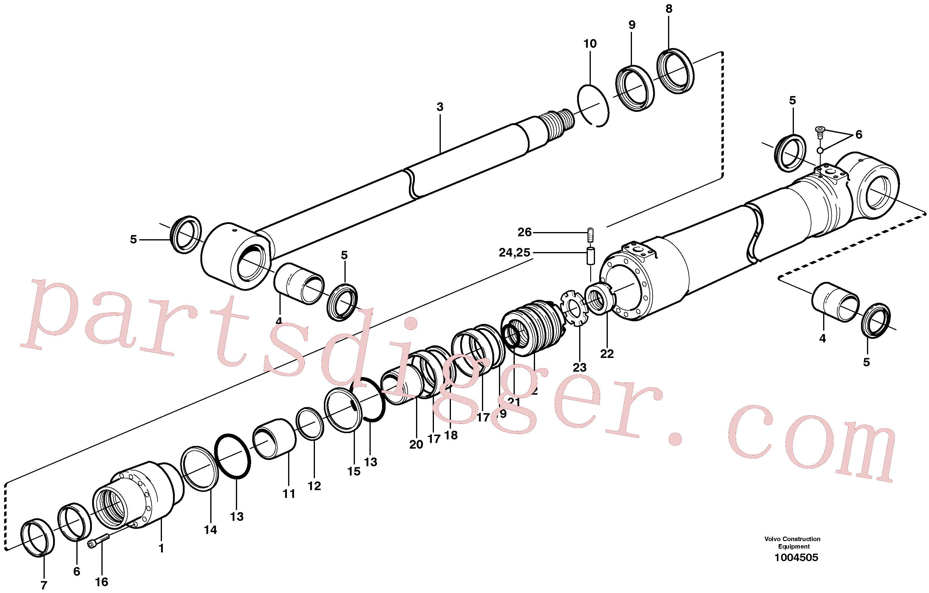 SA9511-12125 for Volvo Dipper arm cylinder(1004505 assembly)