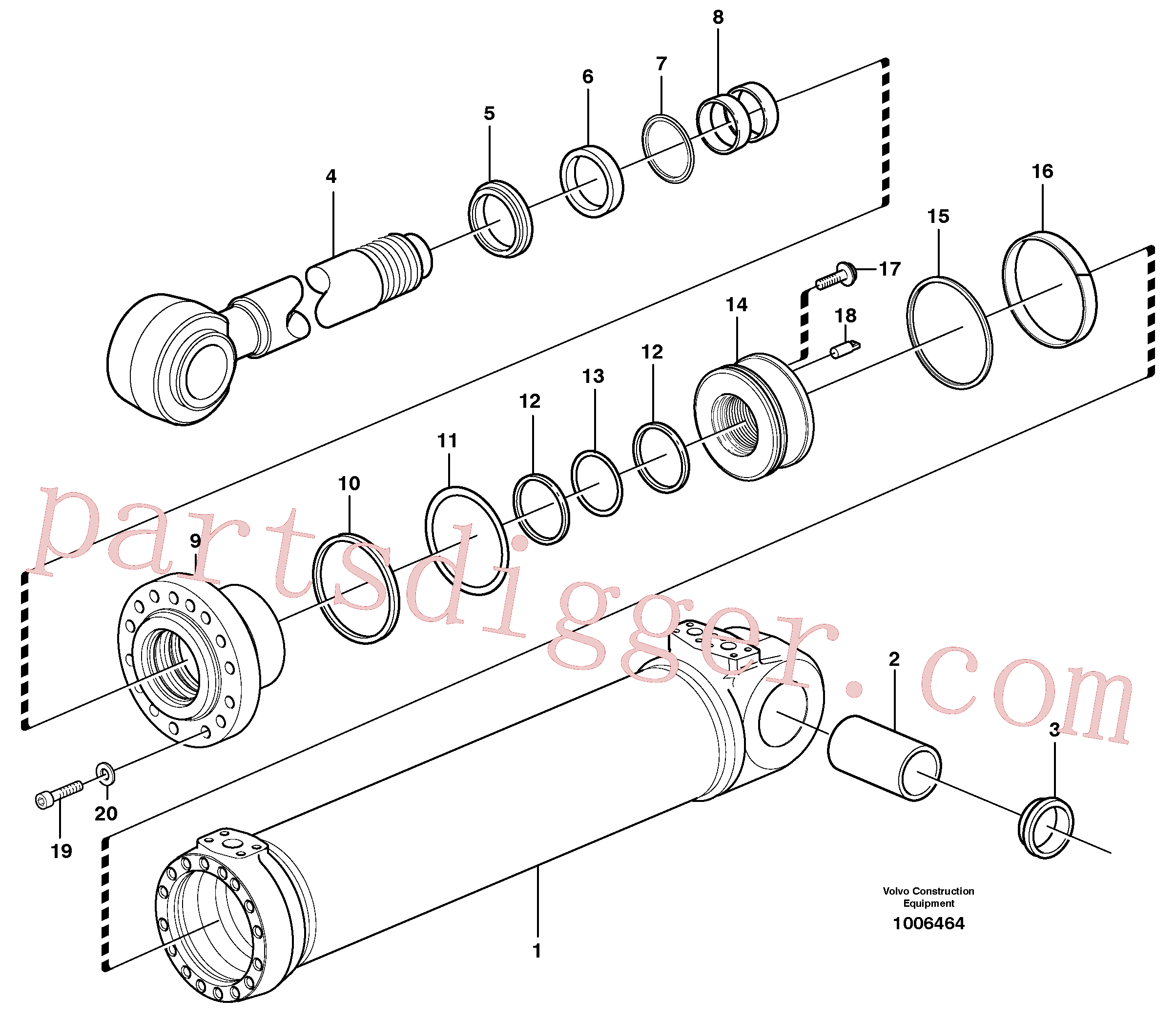 VOE11088320 for Volvo Hydraulic cylinder, tilting(1006464 assembly)