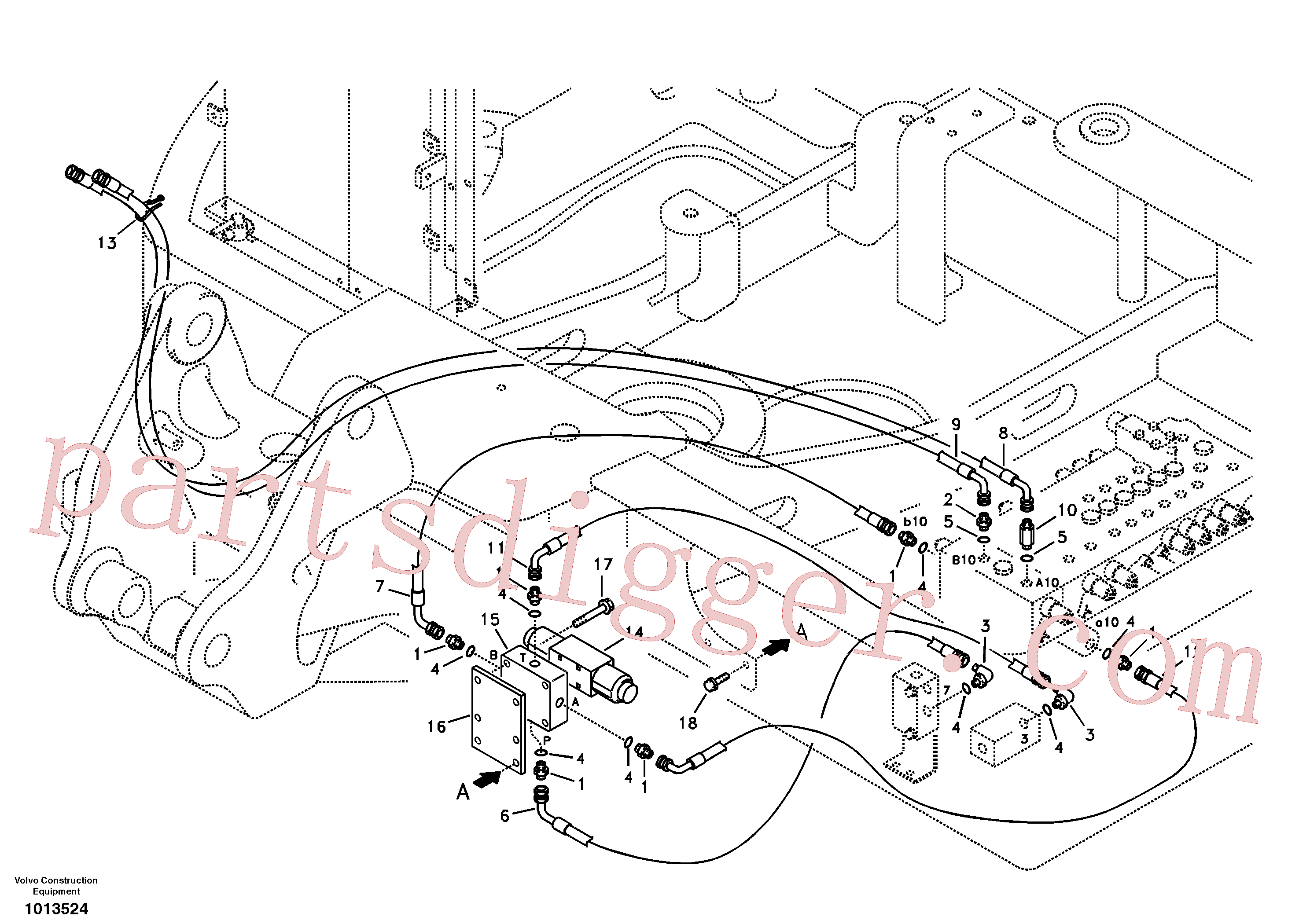 SA9453-02213 for Volvo Working hydraulic, slope and rotator on upper frame(1013524 assembly)