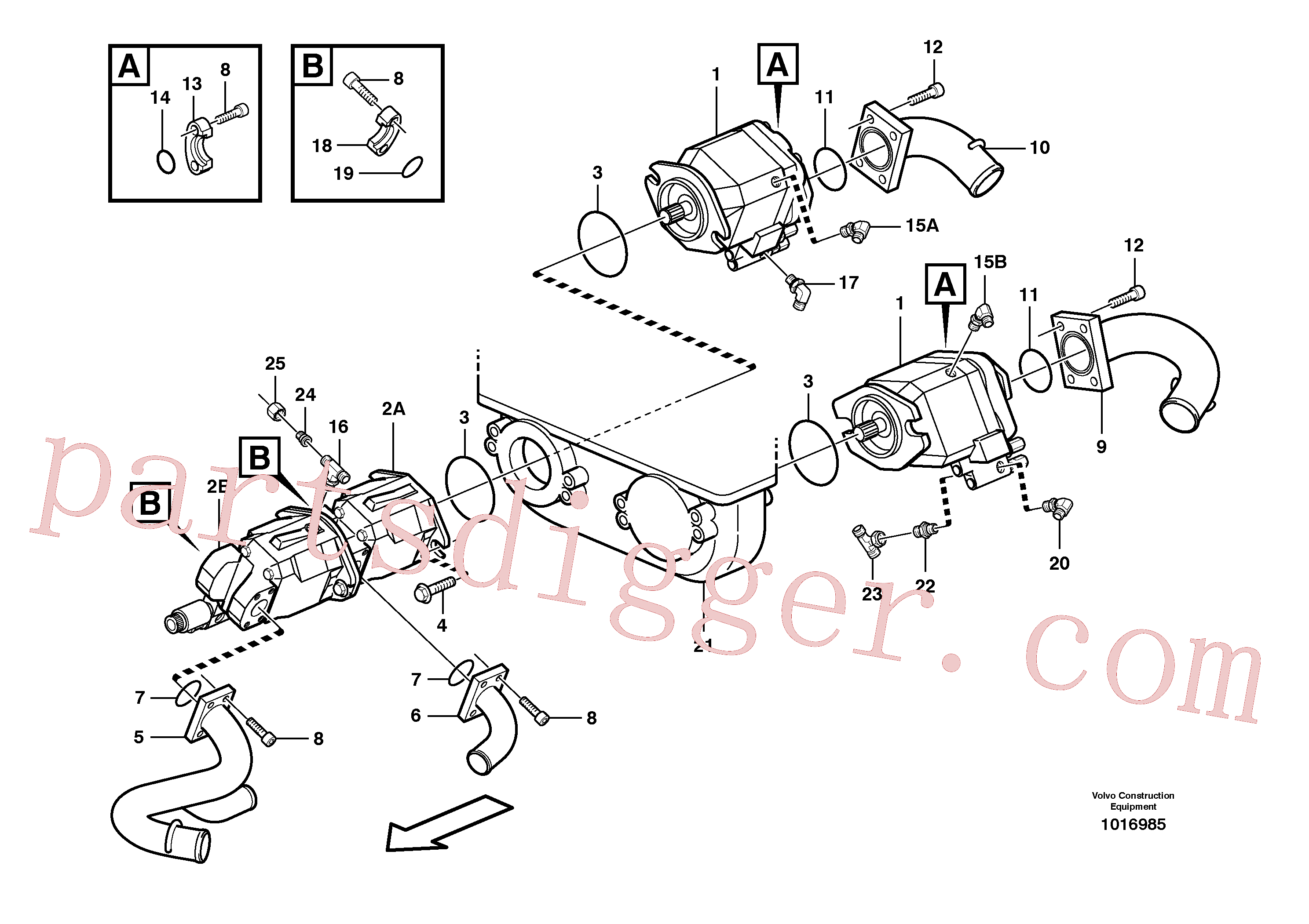 PJ4725004 for Volvo Hydraulic pump with fitting parts(1016985 assembly)