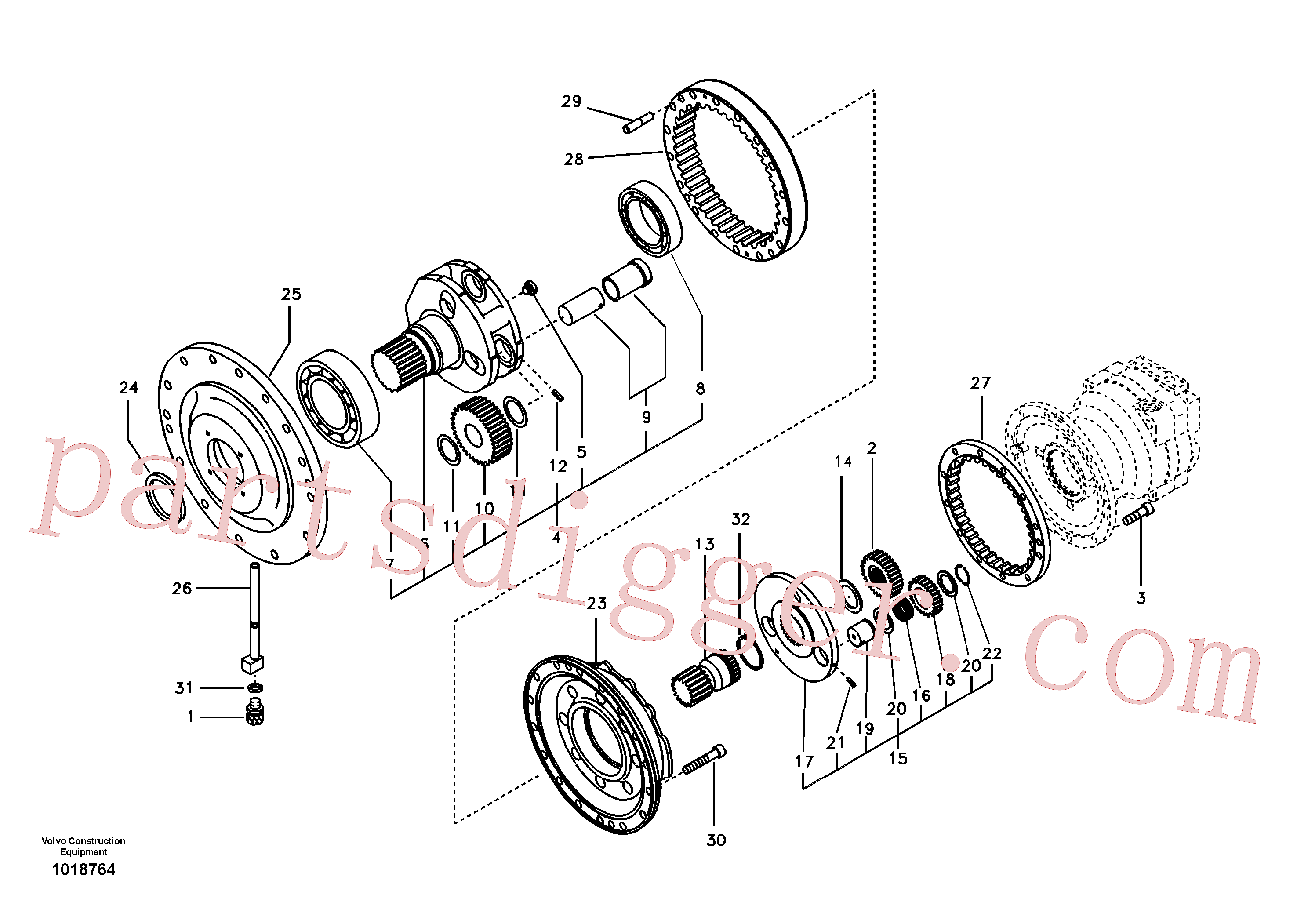 SA1036-00590 for Volvo Swing gearbox(1018764 assembly)