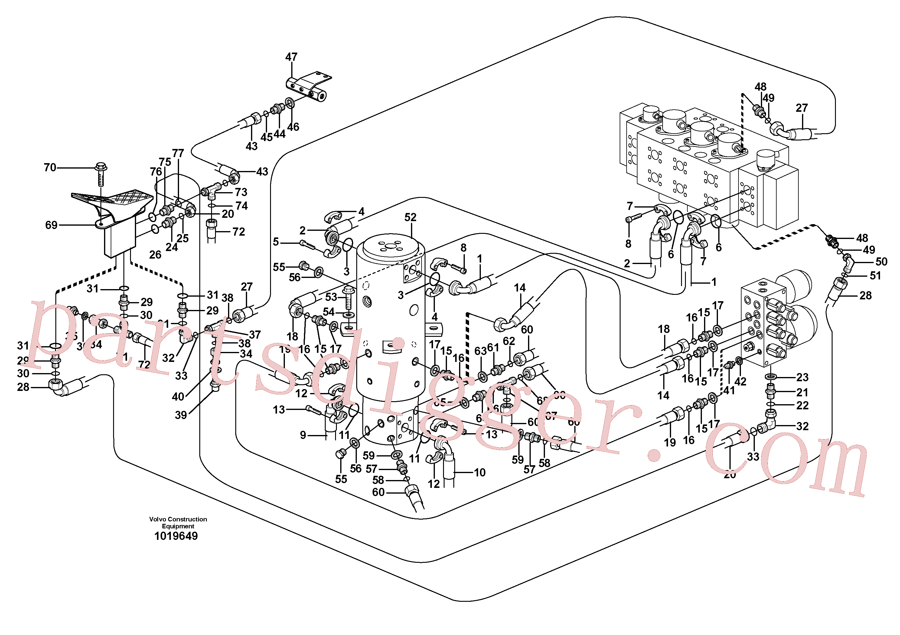 VOE14375474 for Volvo Hydraulic system, transport in uppercarrige(1019649 assembly)