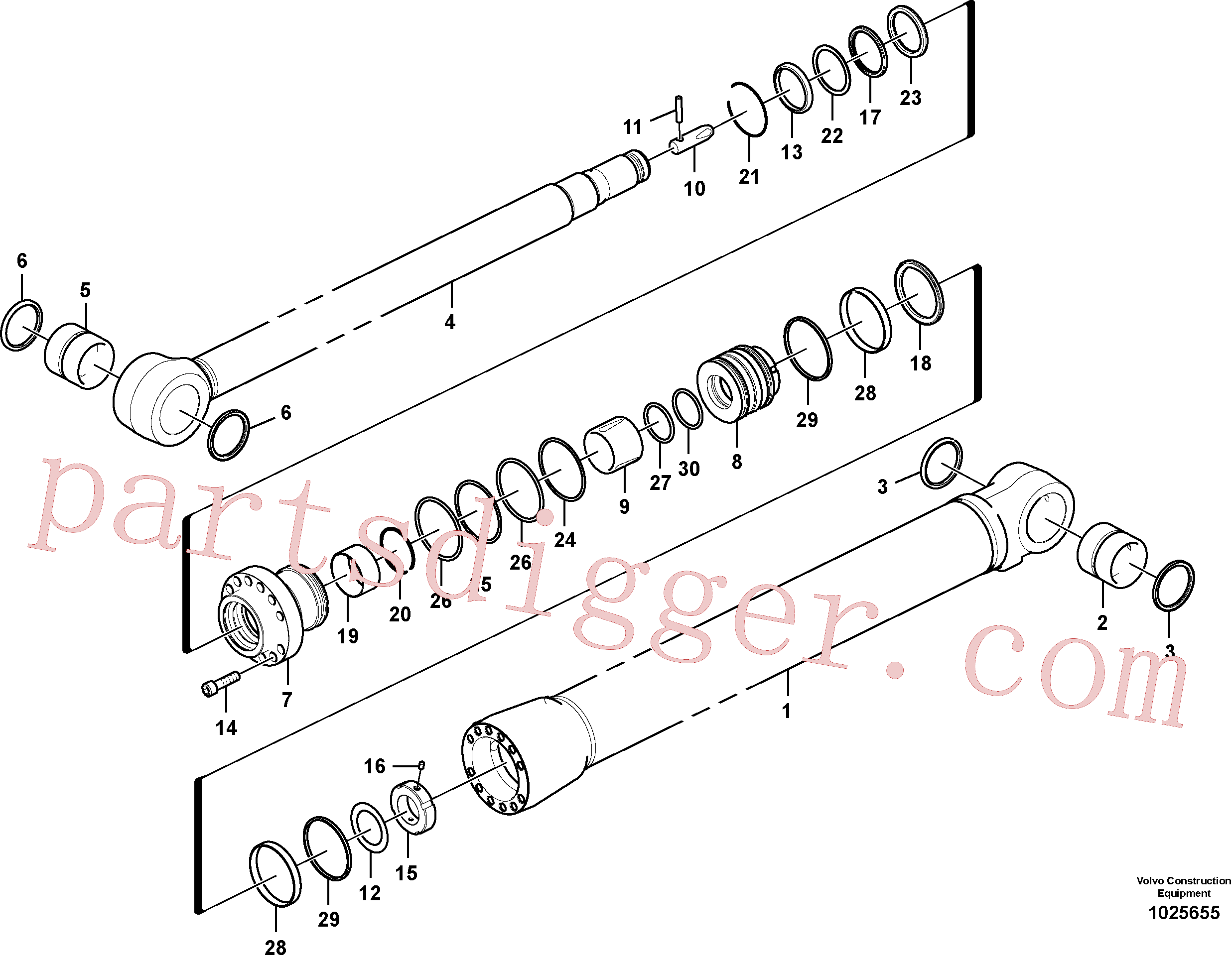 SA9568-01500 for Volvo Dipper arm cylinder(1025655 assembly)