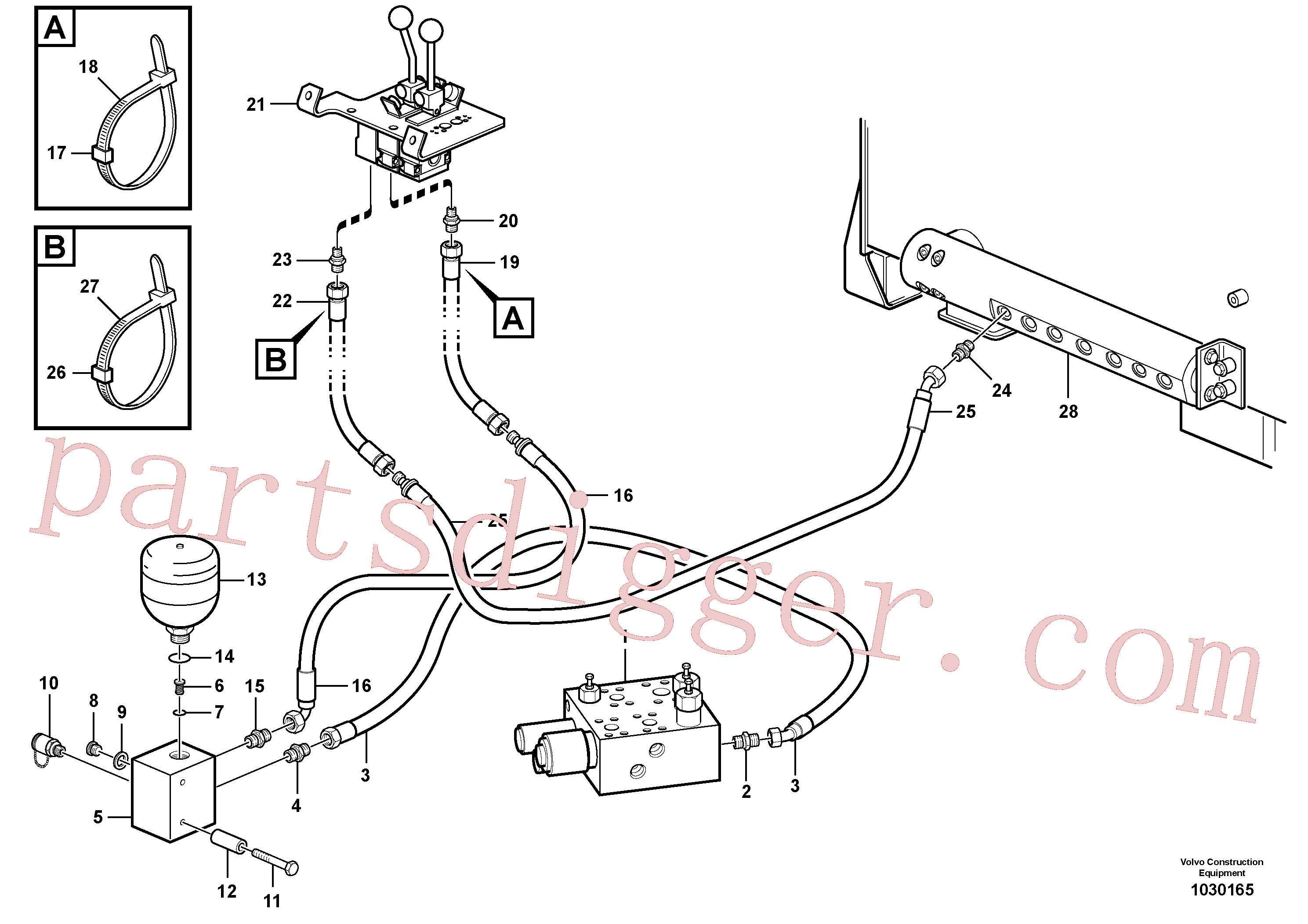VOE11445291 for Volvo Servo - hydraulic, feed and return lines(1030165 assembly)
