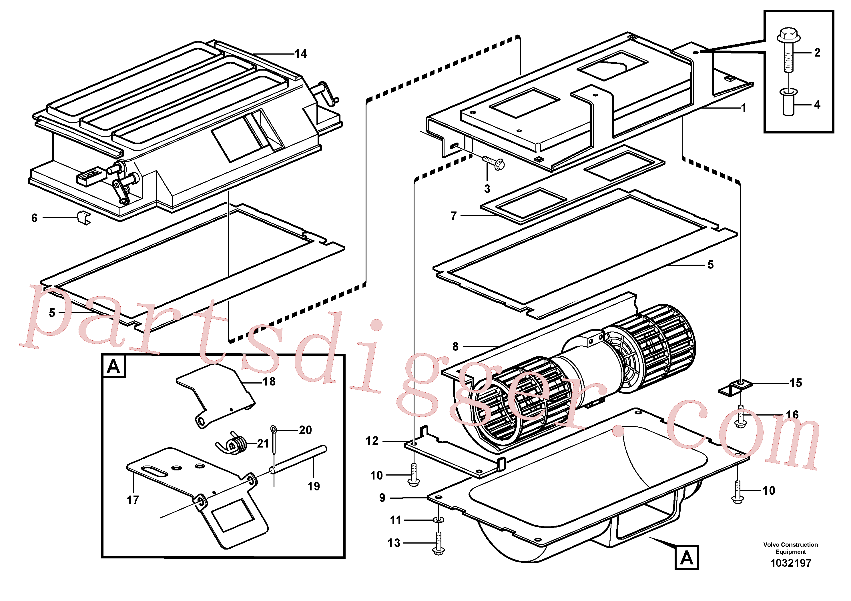 VOE907816 for Volvo Air distribution - inlet and air return(1032197 assembly)