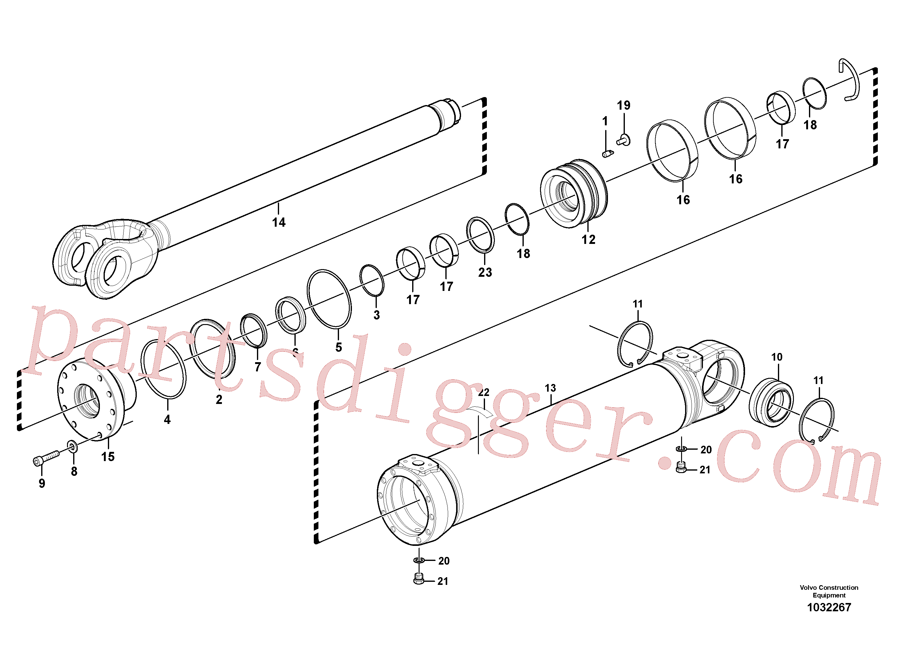 VOE4833009 for Volvo Hydraulic cylinder, tilting(1032267 assembly)