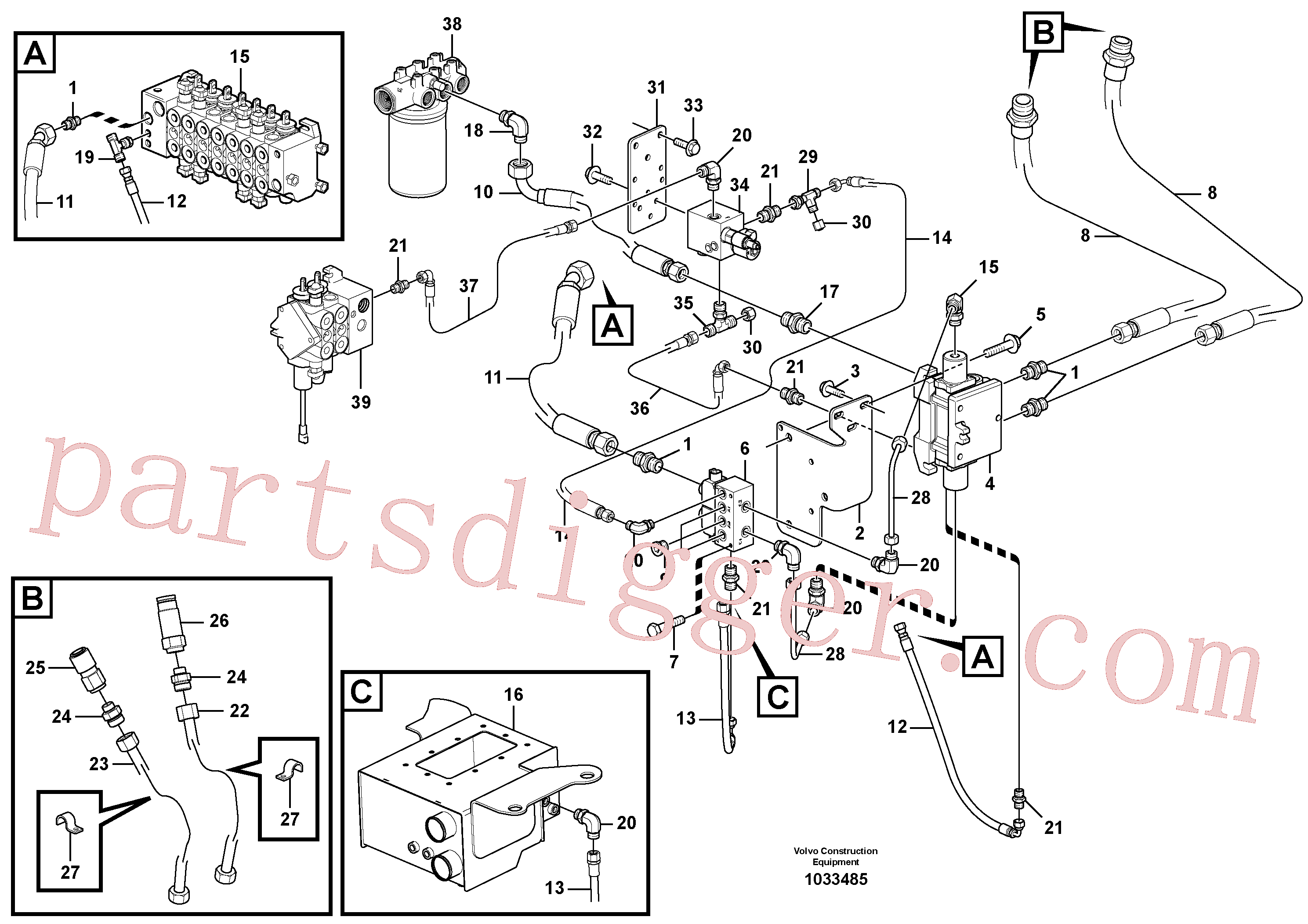 VOE14527754 for Volvo Optional hydraulic equipment(1033485 assembly)