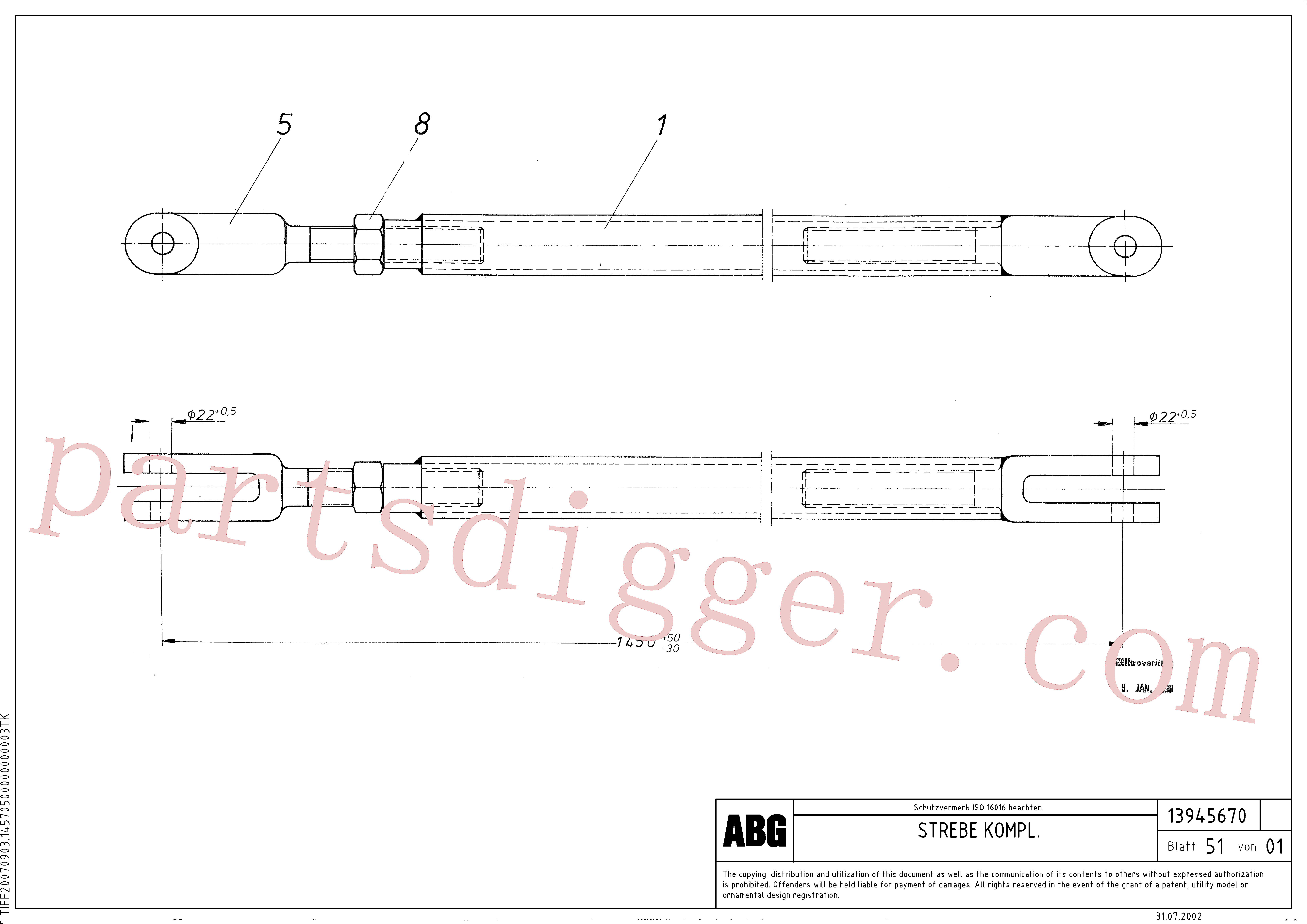 RM13938105 for Volvo Prop assembly for auger extension, Prop assembly for auger extension 6 m(1046128 assembly)