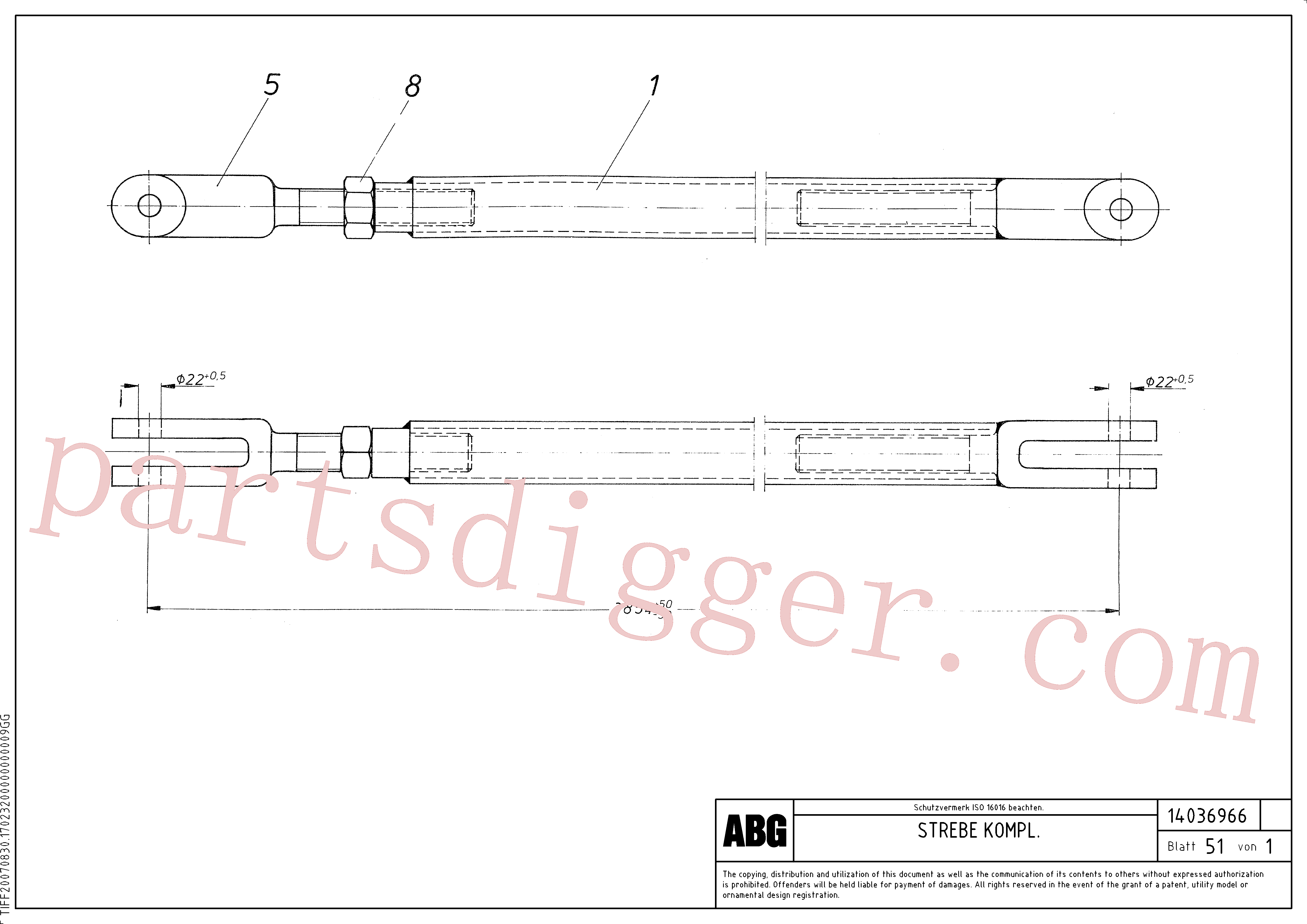 RM13938105 for Volvo Prop assembly for auger extension(1046191 assembly)