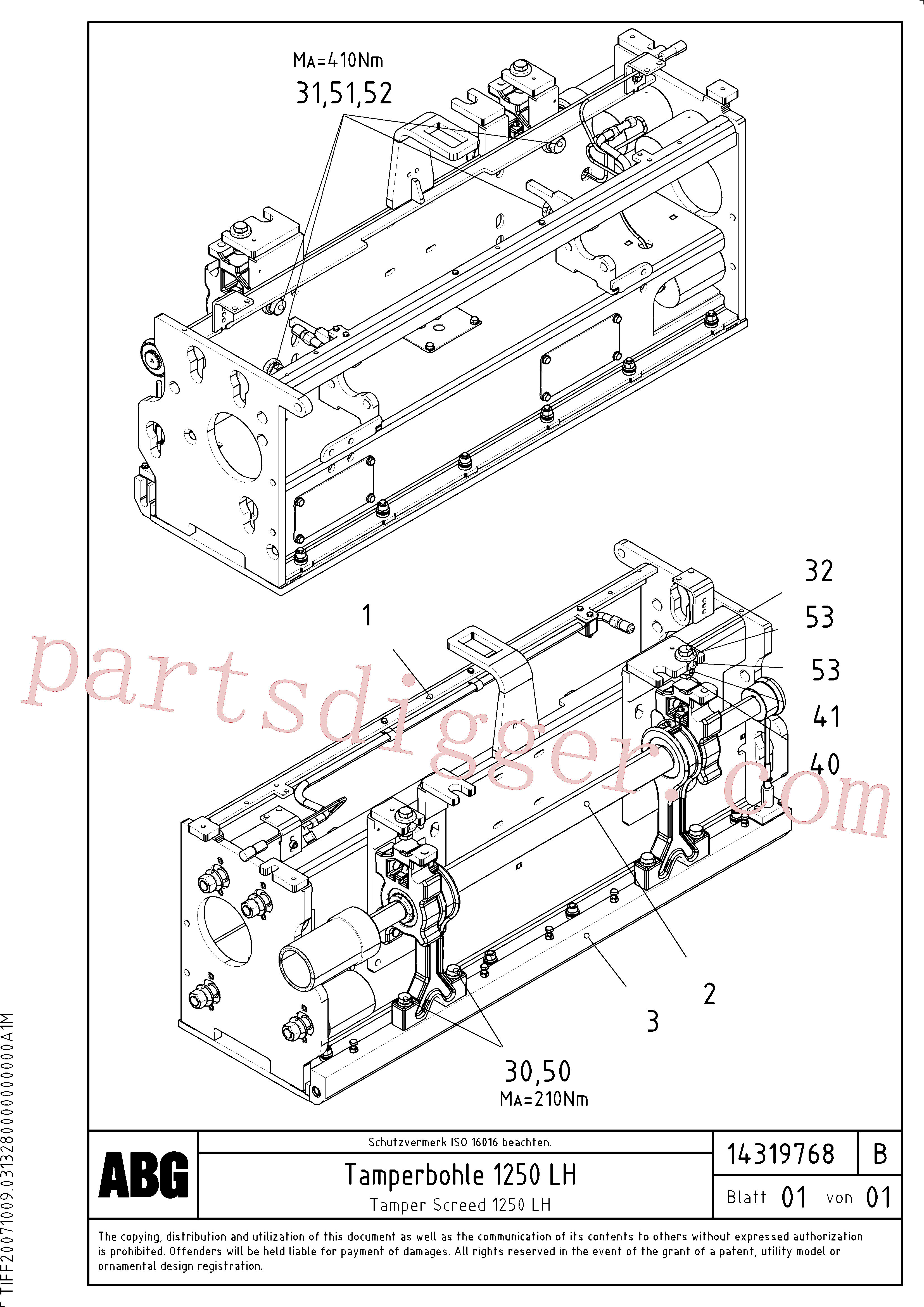 RM56292147 for Volvo Tamper screed for extension, Tamper drive shaft for extension(1046280 assembly)