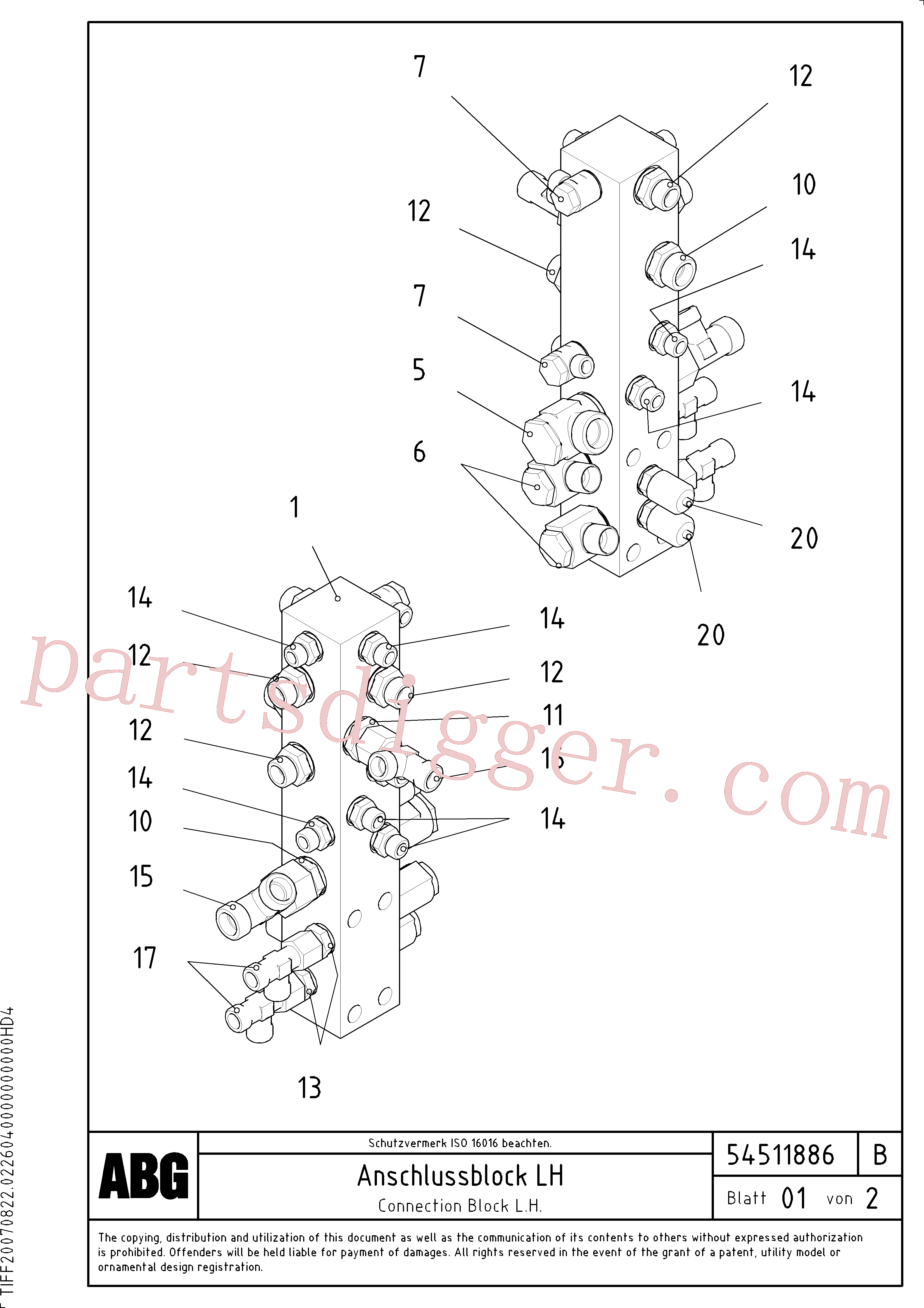 RM54487814 for Volvo Connection block on basic screed(1046662 assembly)