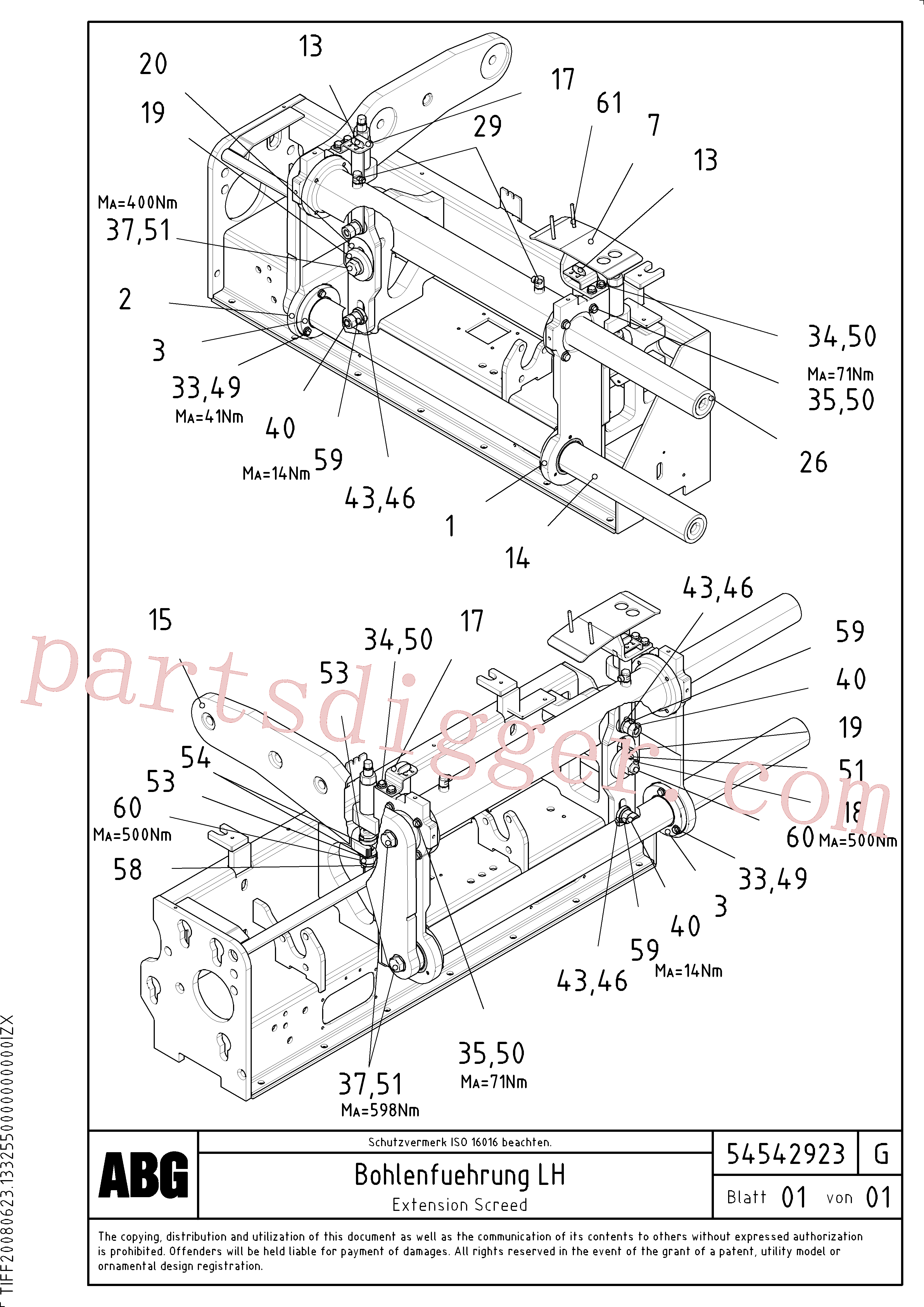 RM96715081 for Volvo Extendable screed, Extension screed, Screed guide for extendable screed, Extension with mechanical holder, bushing and synchronizing cylinder(1046698 assembly)