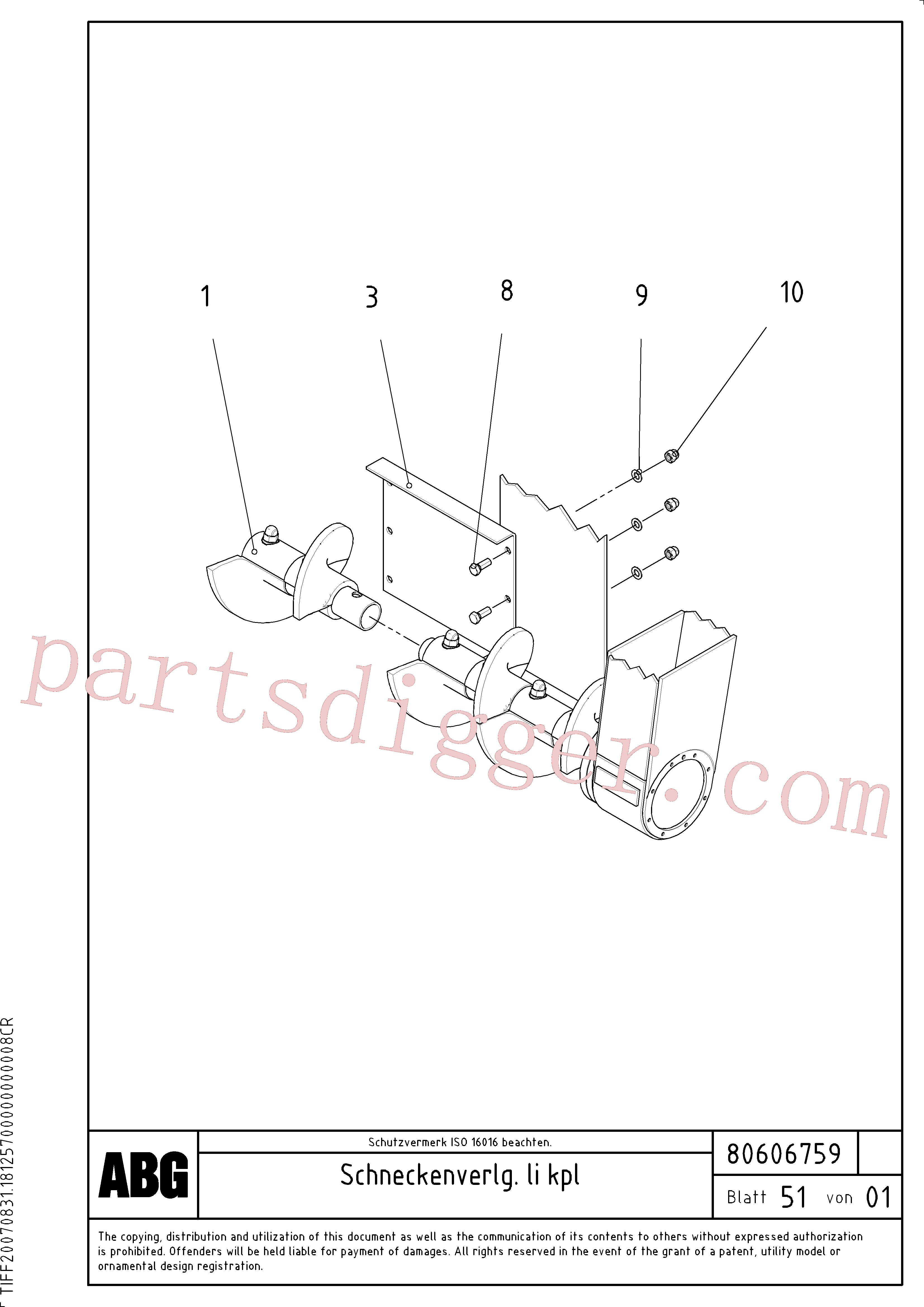 RM96724711 for Volvo Auger extension(1046977 assembly)