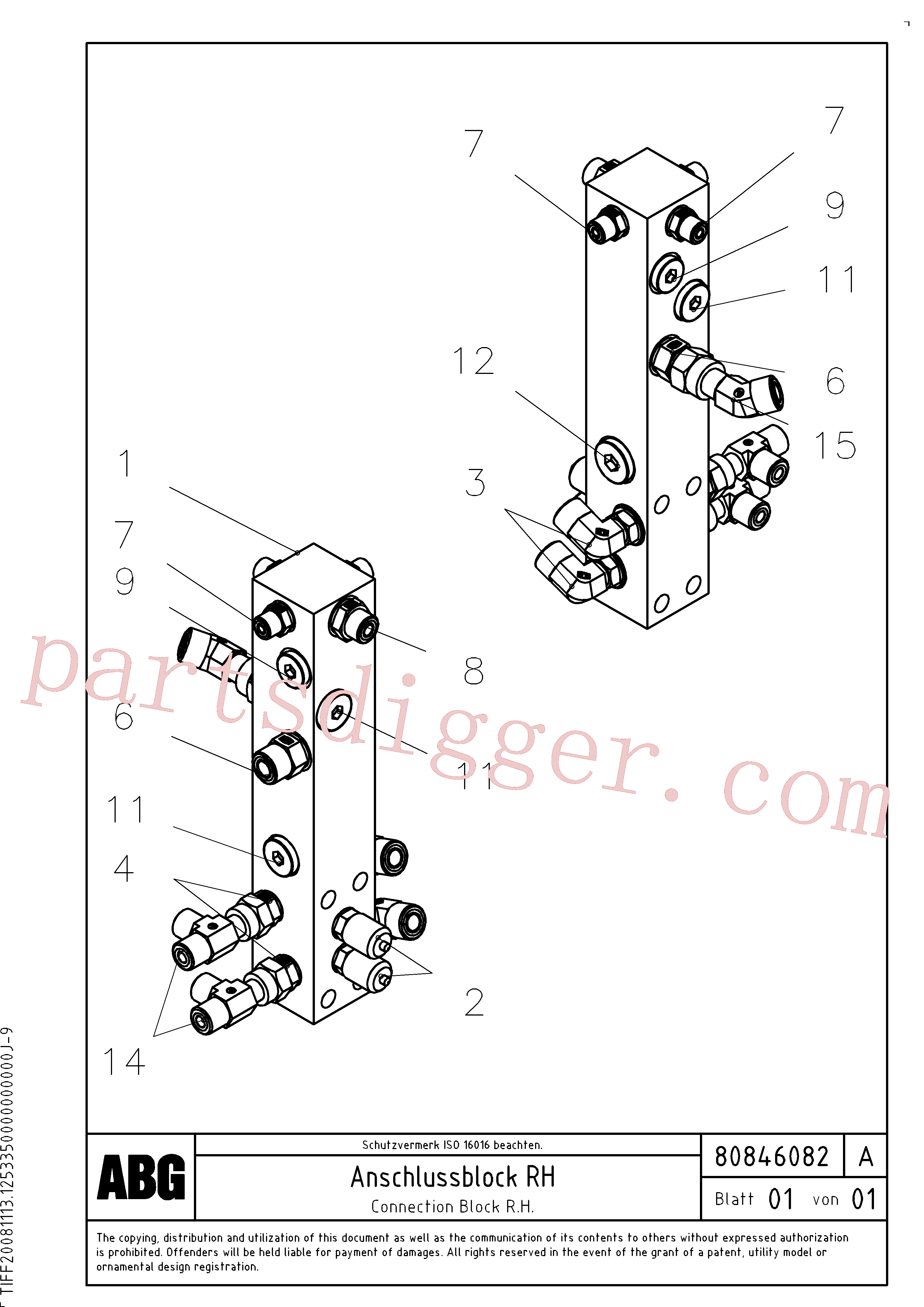 RM54487814 for Volvo Connection block on basic screed(1047679 assembly)