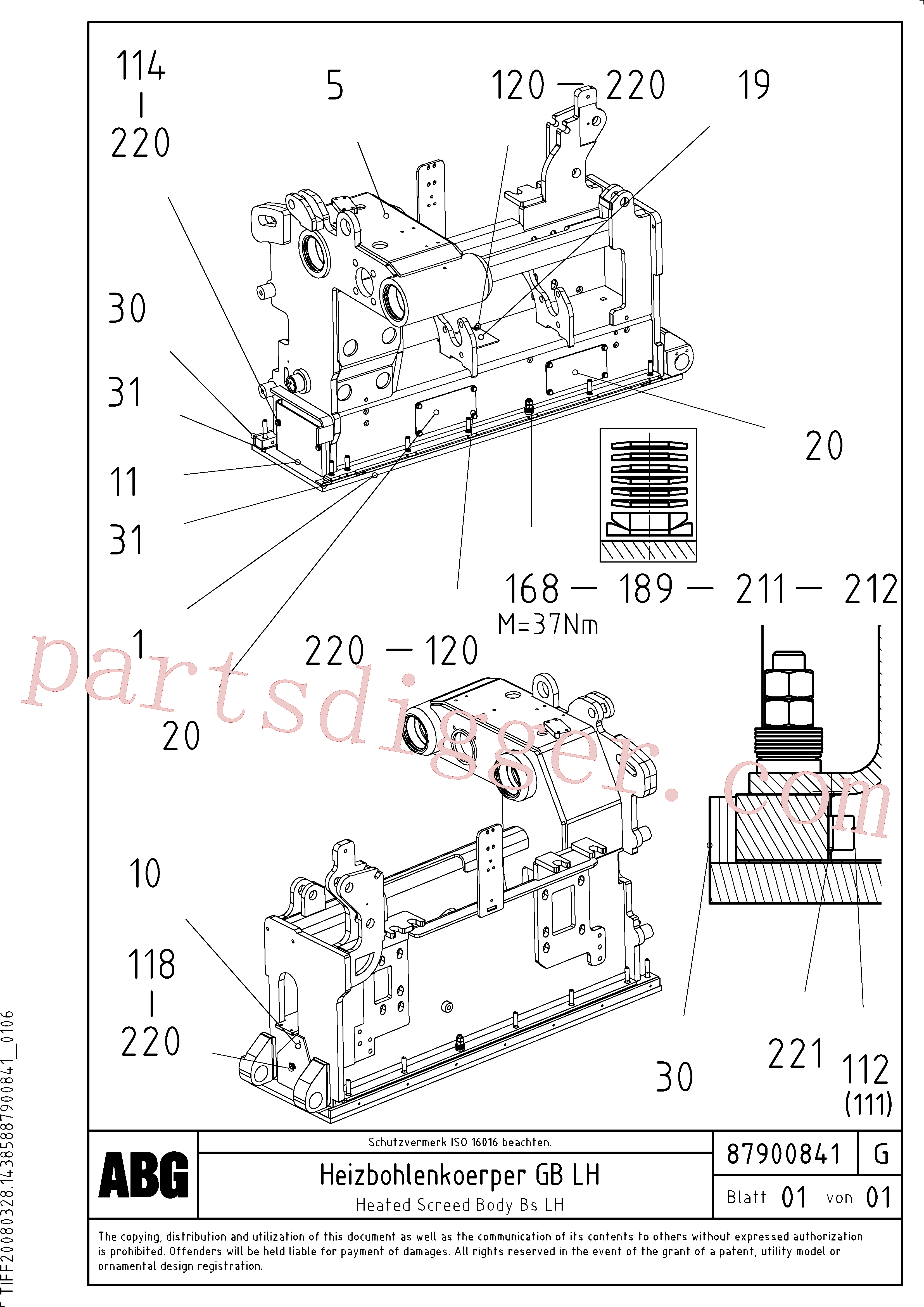 RM56292147 for Volvo Heated body for basic screed(1047848 assembly)