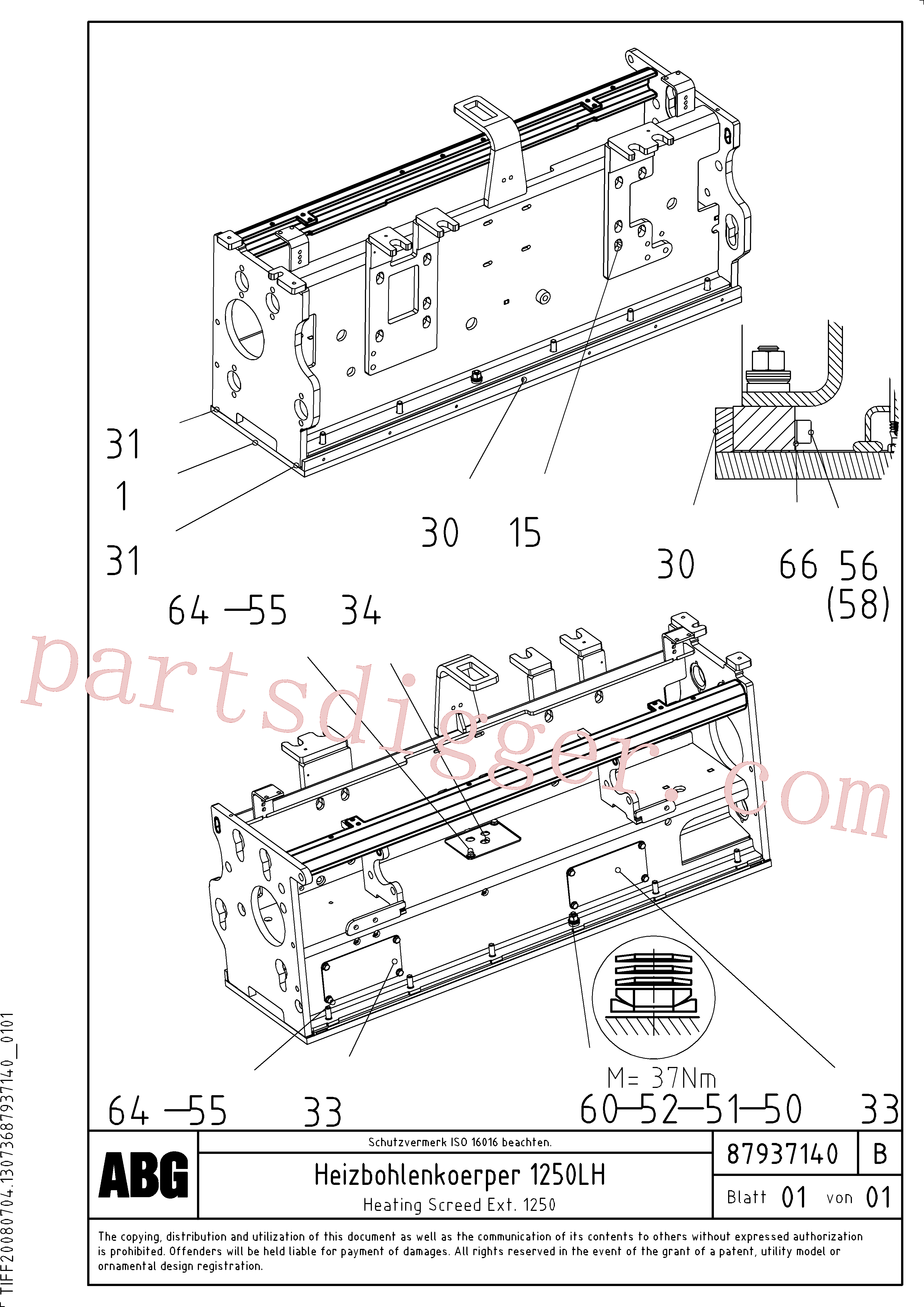RM56292147 for Volvo Heated body for extension, Heating screed extension(1047898 assembly)