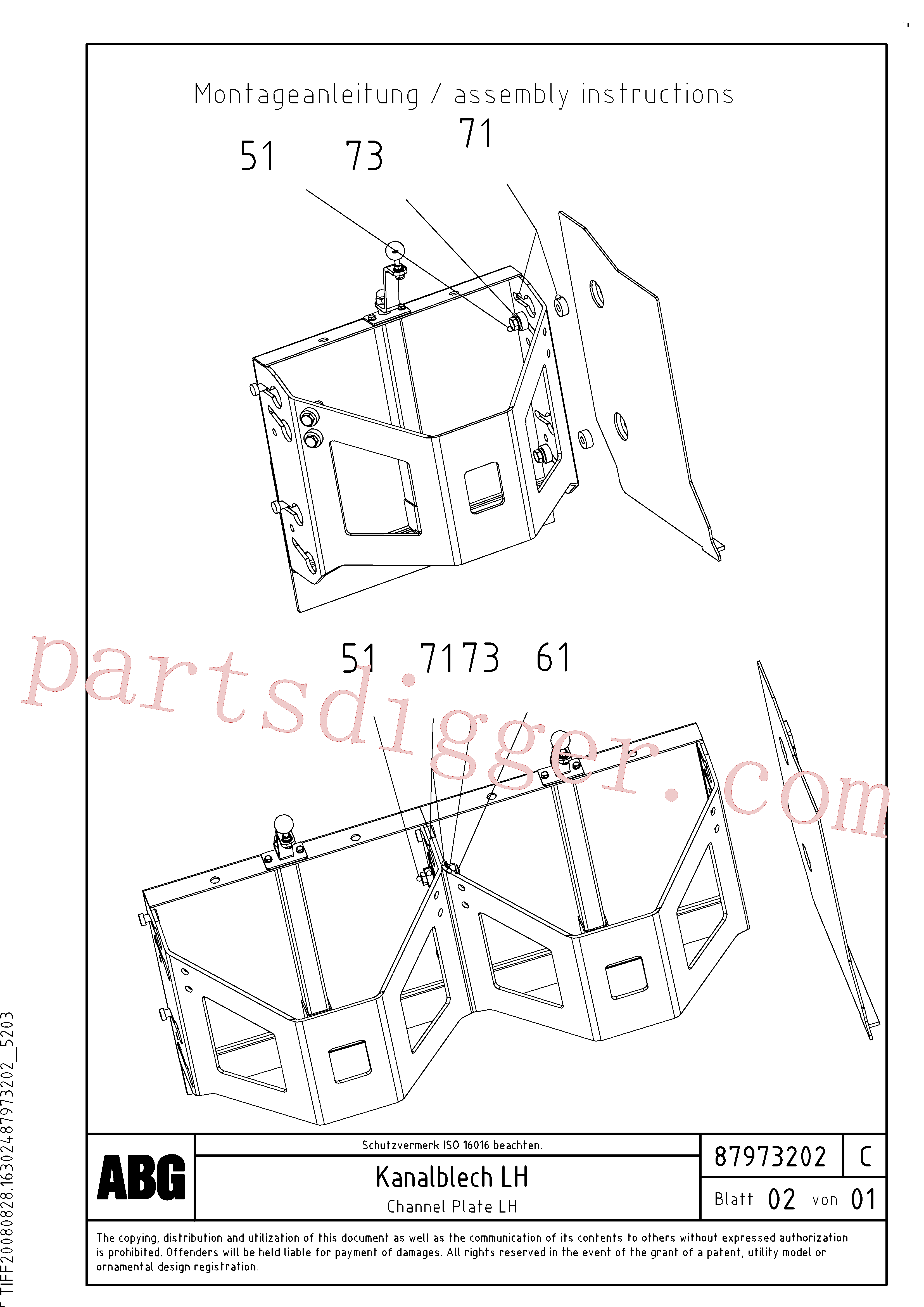 RM96724711 for Volvo Channel plate for extension(1048184 assembly)