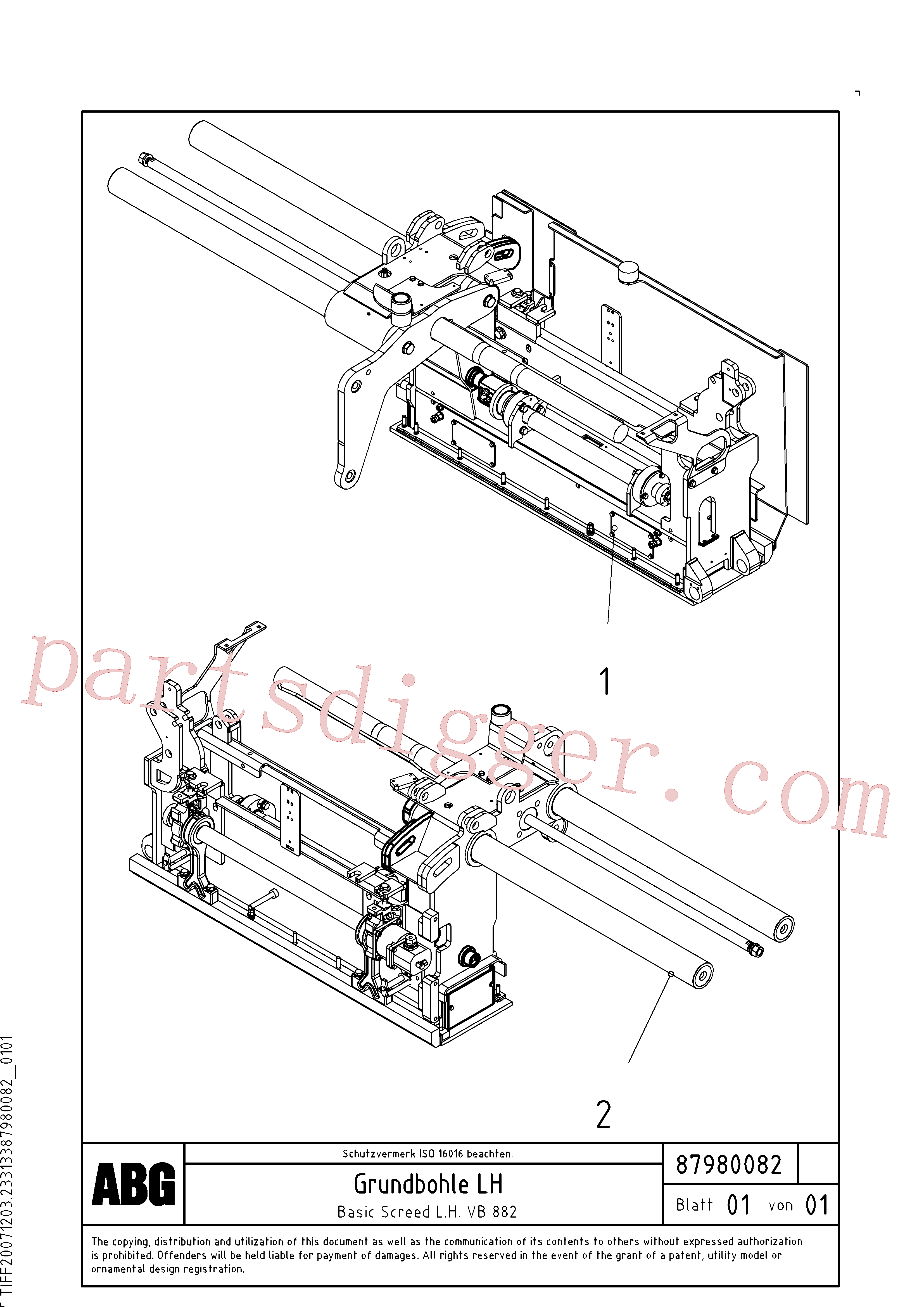 RM87980041 for Volvo Basic screed(1048233 assembly)