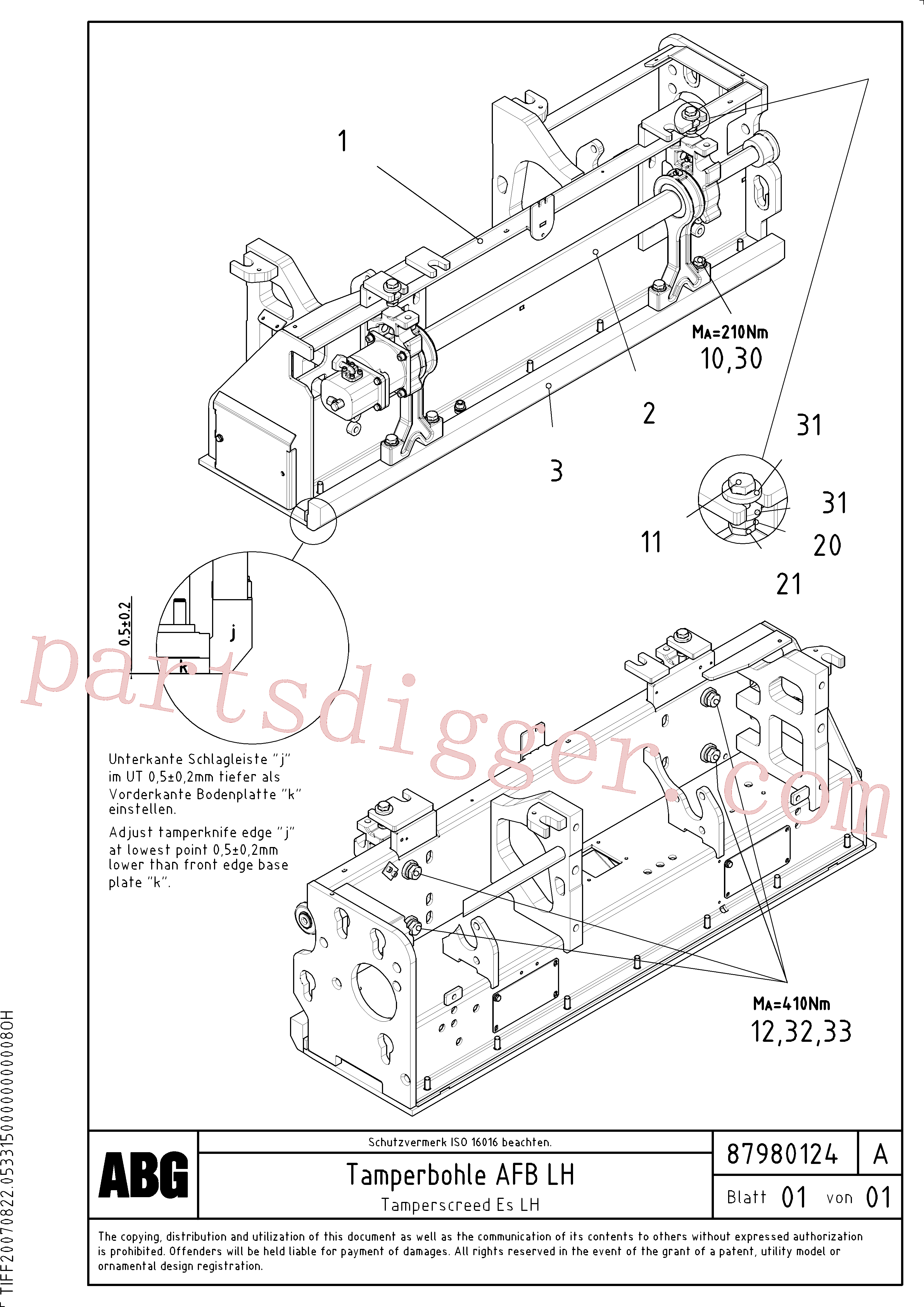 RM96724190 for Volvo Tamper screed for extension, Tamper for extendable screed(1048236 assembly)