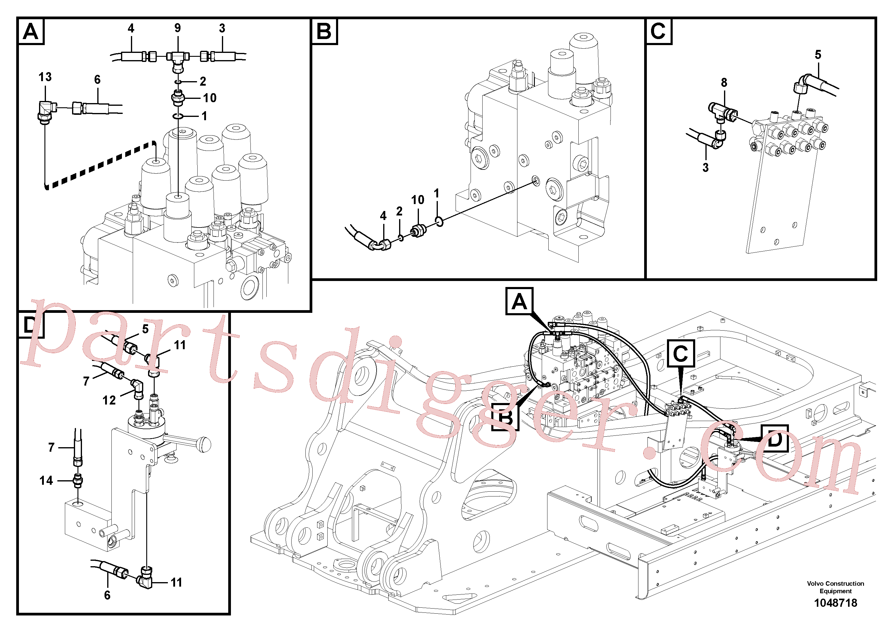 PJ4725004 for Volvo Working hydraulic, hammer and shear for 1st pump flow(1048718 assembly)