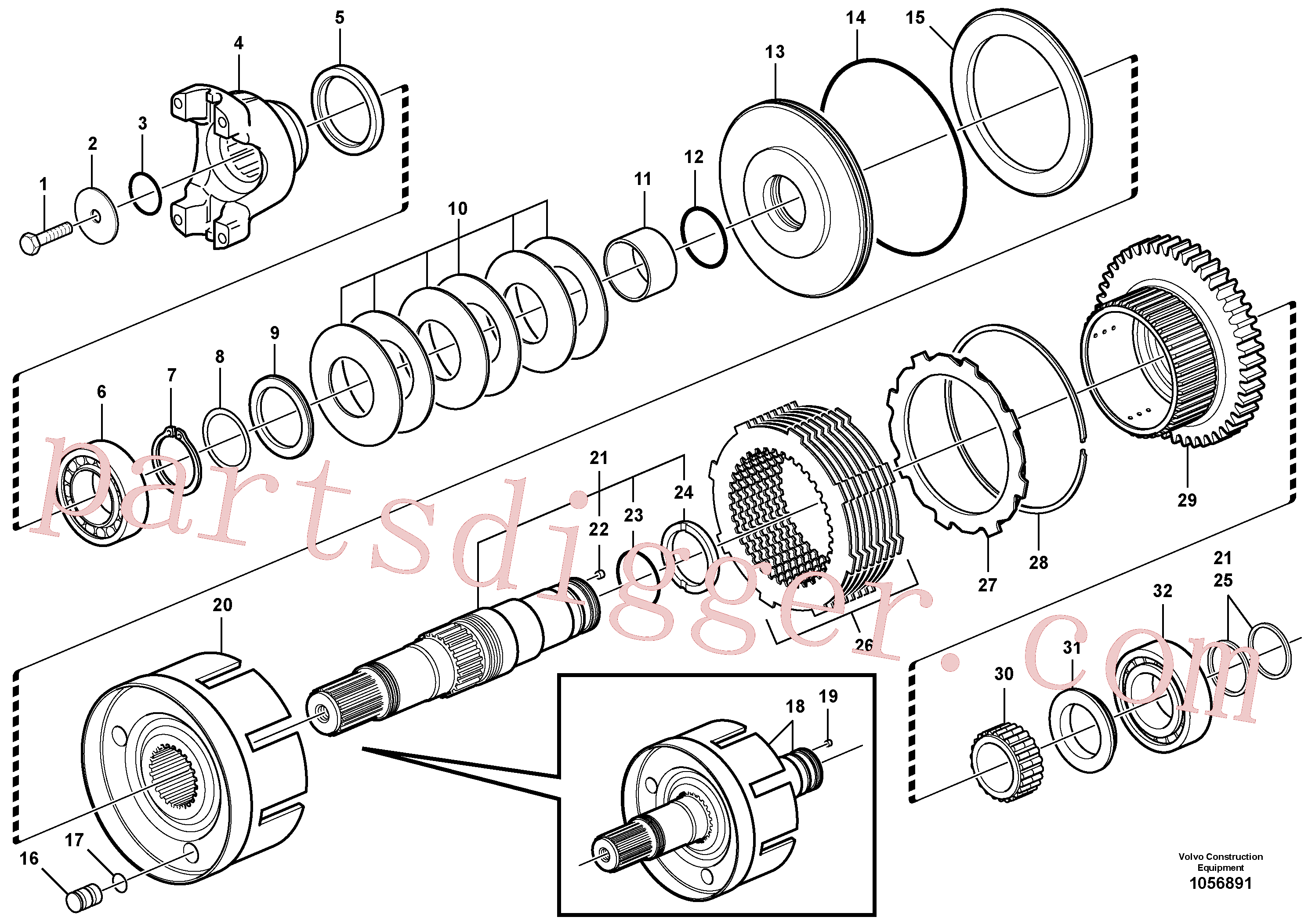 VOE11709144 for Volvo Hydraulic clutch, 4wd(1056891 assembly)
