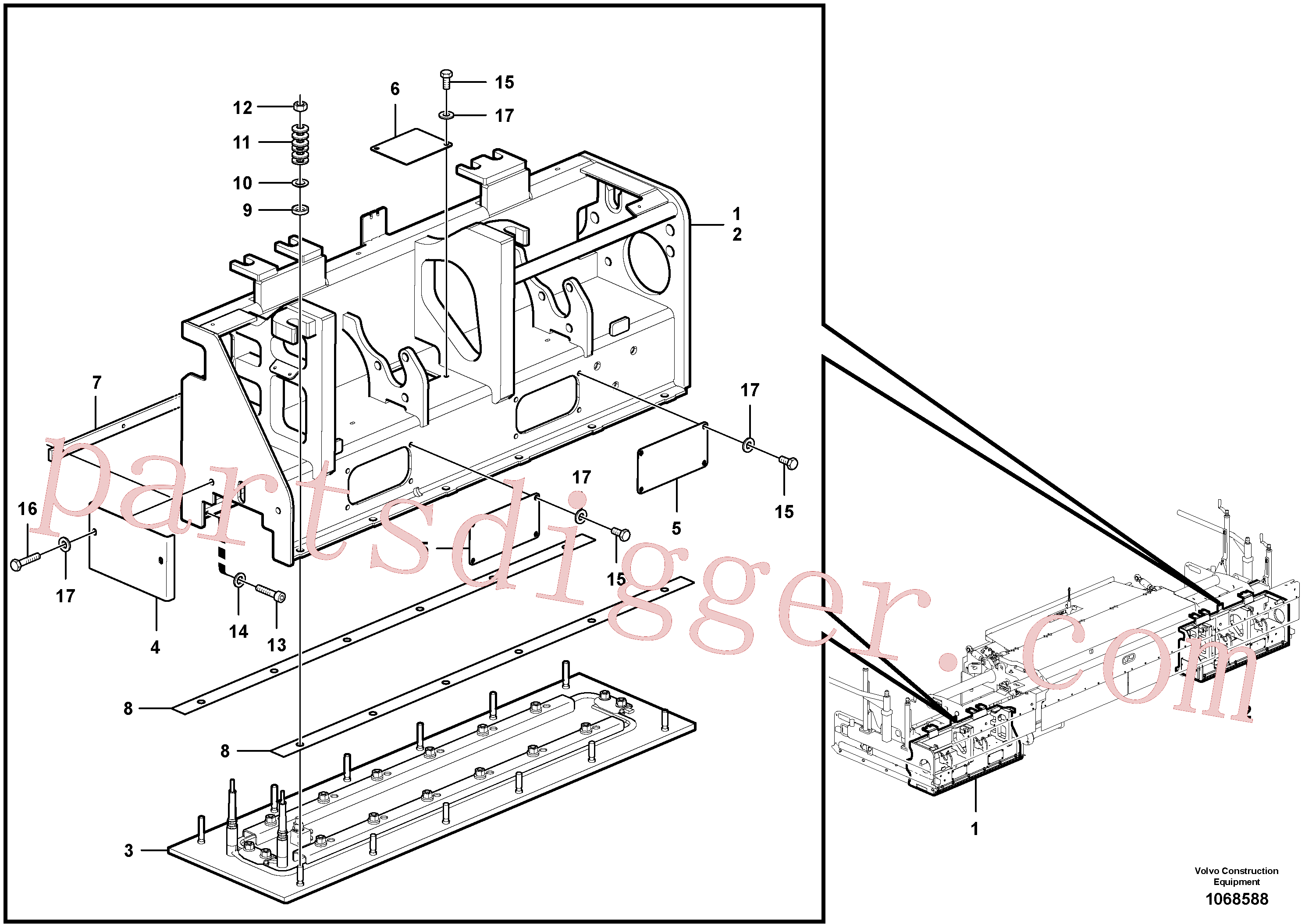 RM54482245 for Volvo Heated body for extendable screed(1068588 assembly)