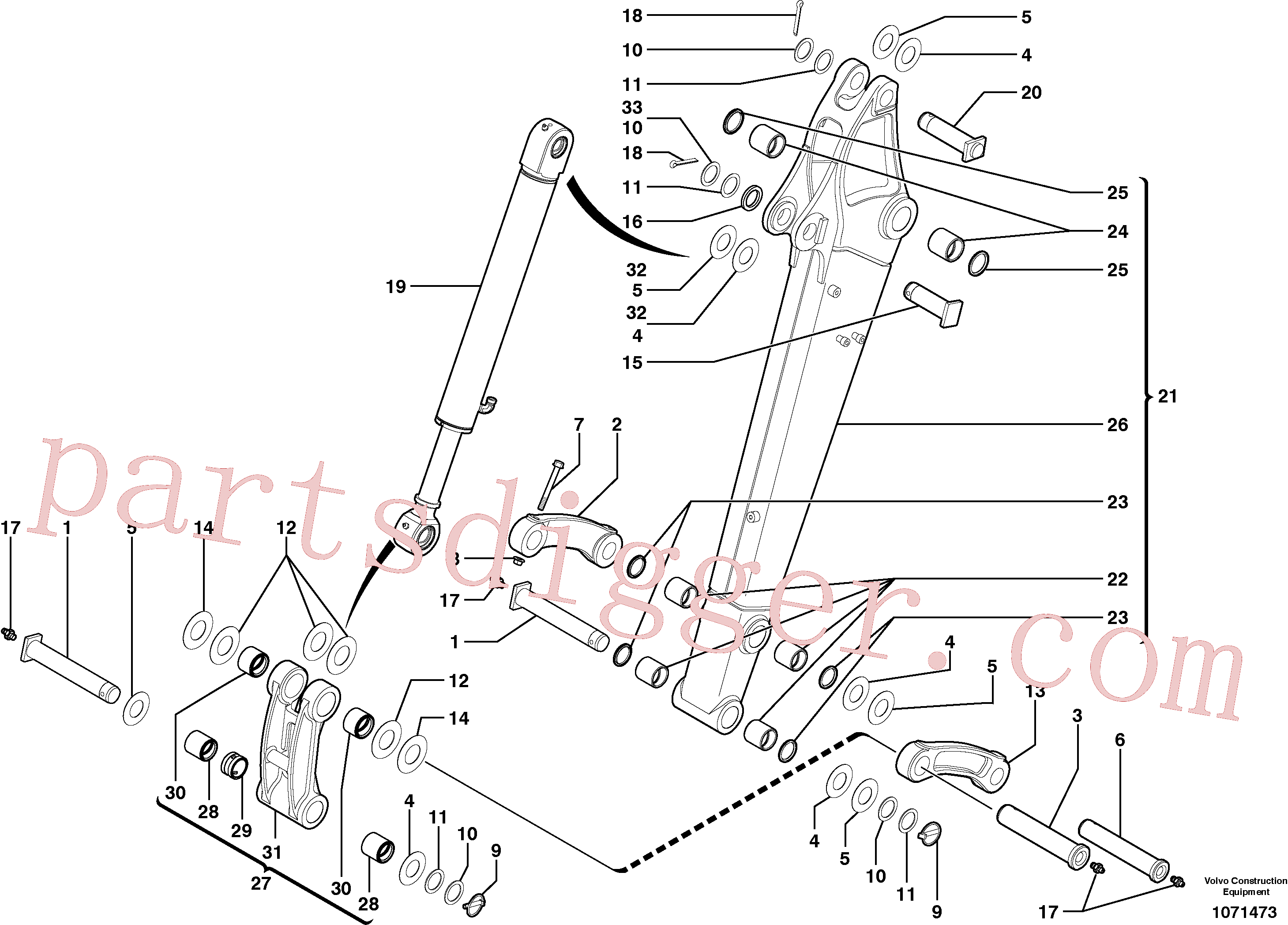 PJ5460389 for Volvo Dipper arm(1071473 assembly)