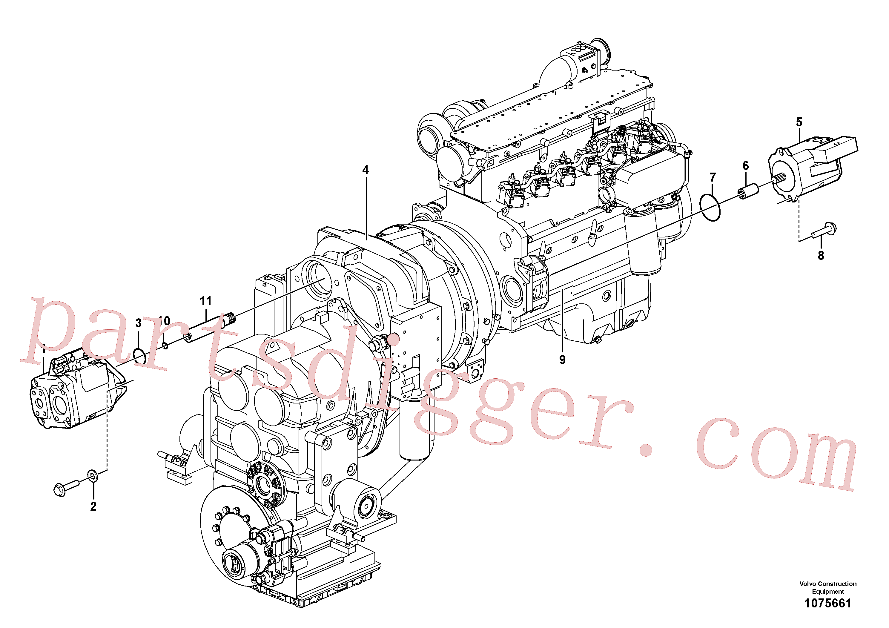 VOE11144861 for Volvo Hydraulic pump with fitting parts(1075661 assembly)