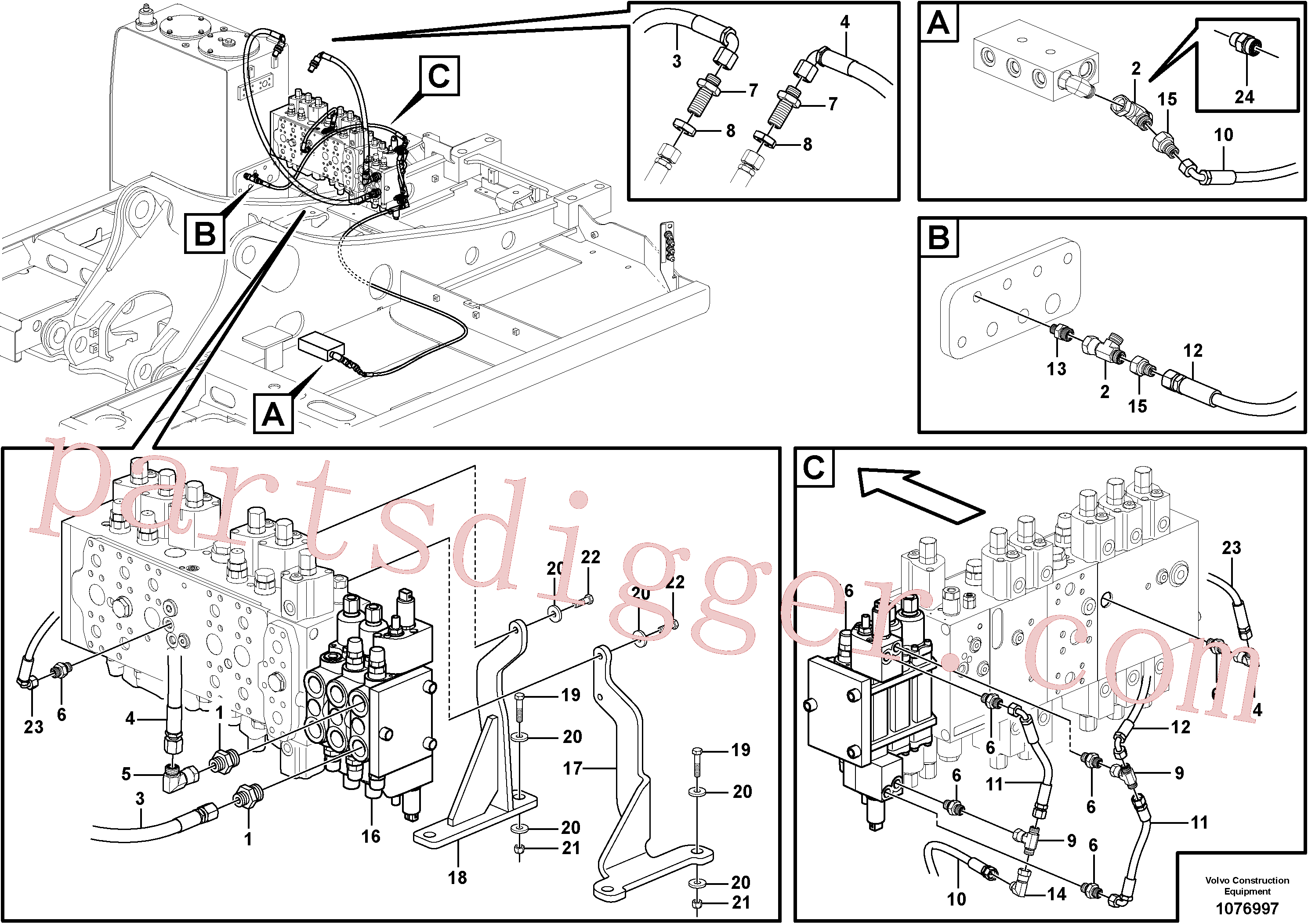 PJ4725004 for Volvo Hydraulic valve.(1076997 assembly)