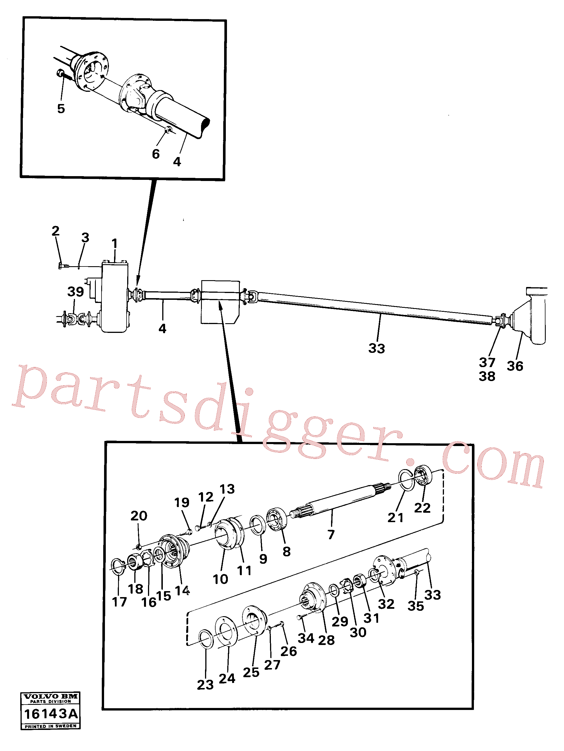 VOE382779 for Volvo Propeller shafts with fitting parts(16143A assembly)
