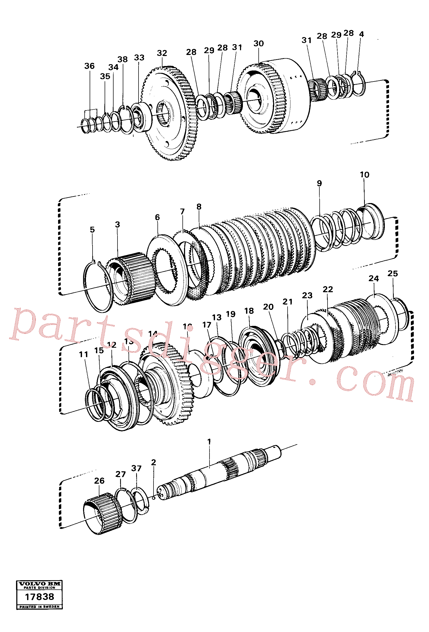 VOE4720858 for Volvo Clutches reverse/2nd speeds, Hydraulic clutch reverse / 2nd speeds.(17838 assembly)