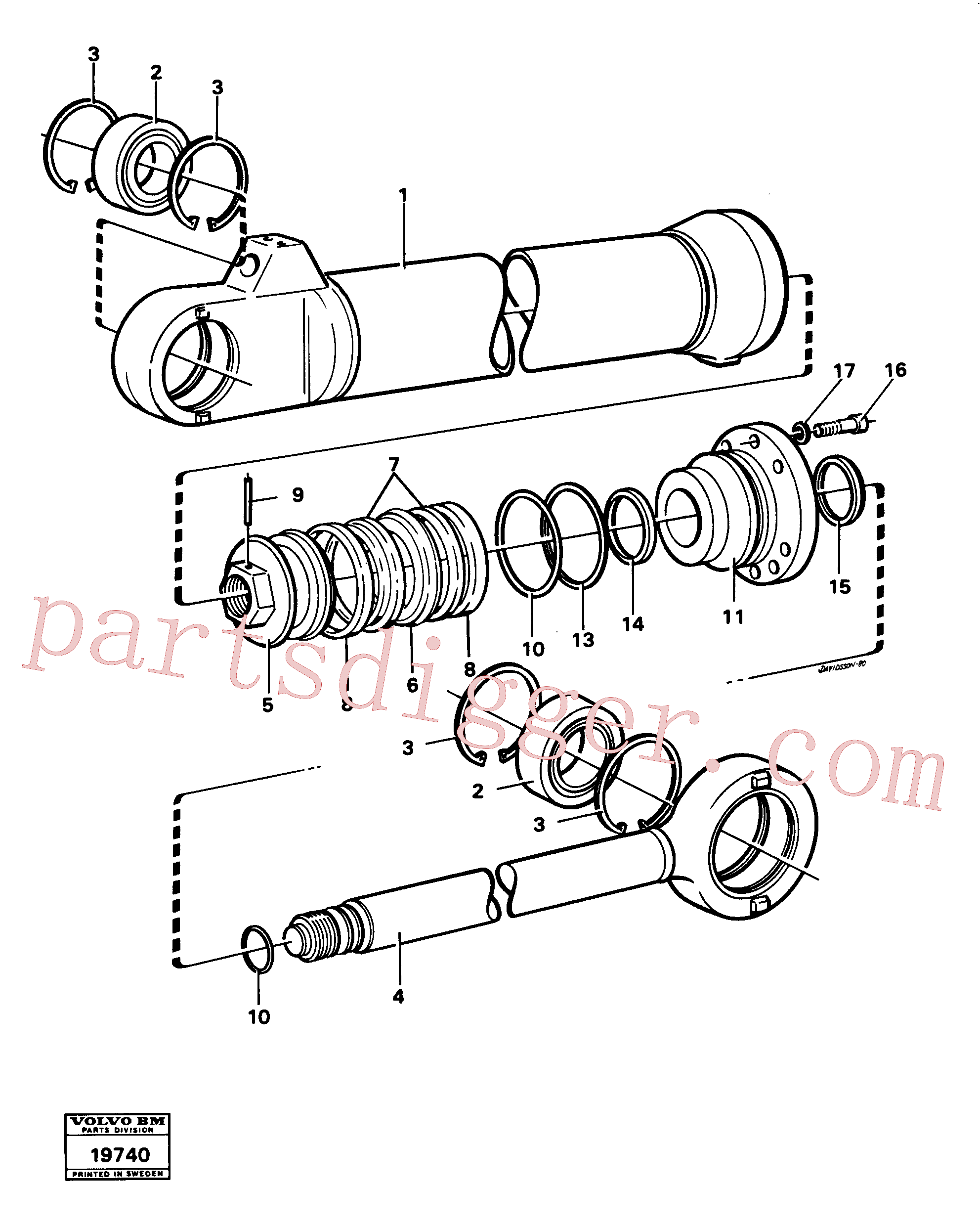 VOE14024480 for Volvo Hydraulic cylinder tilting(19740 assembly)