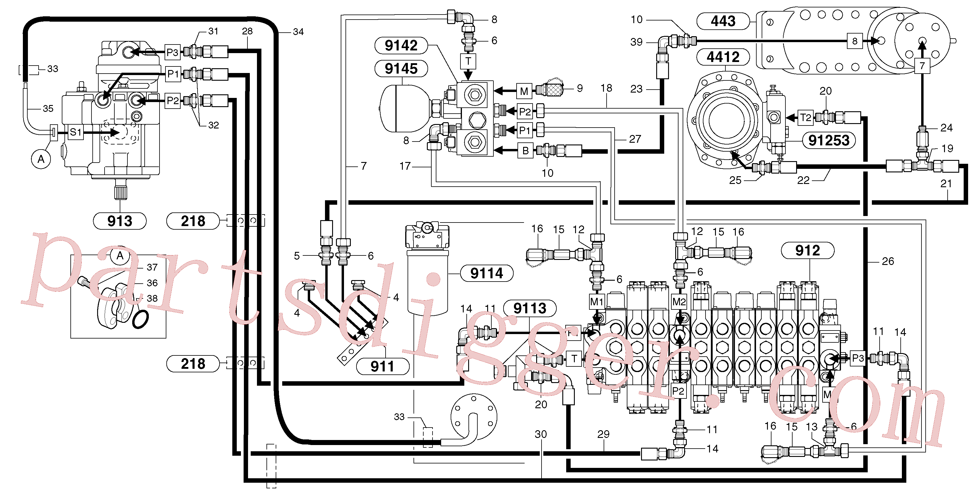 VOE14370262 for Volvo Attachments supply and return circuit(9112Y1 assembly)