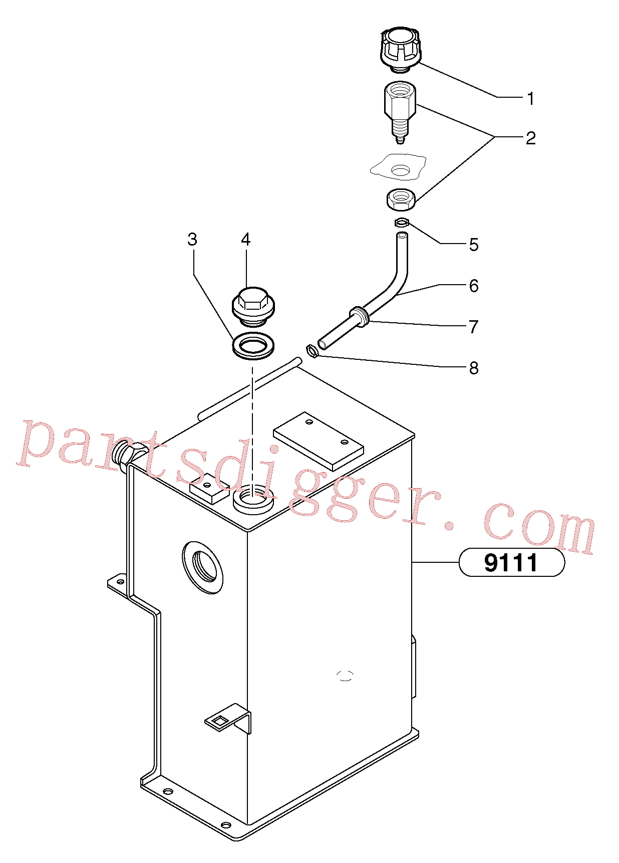 PJ6050123 for Volvo Lubrication oil filler and breather(9115X1 assembly)
