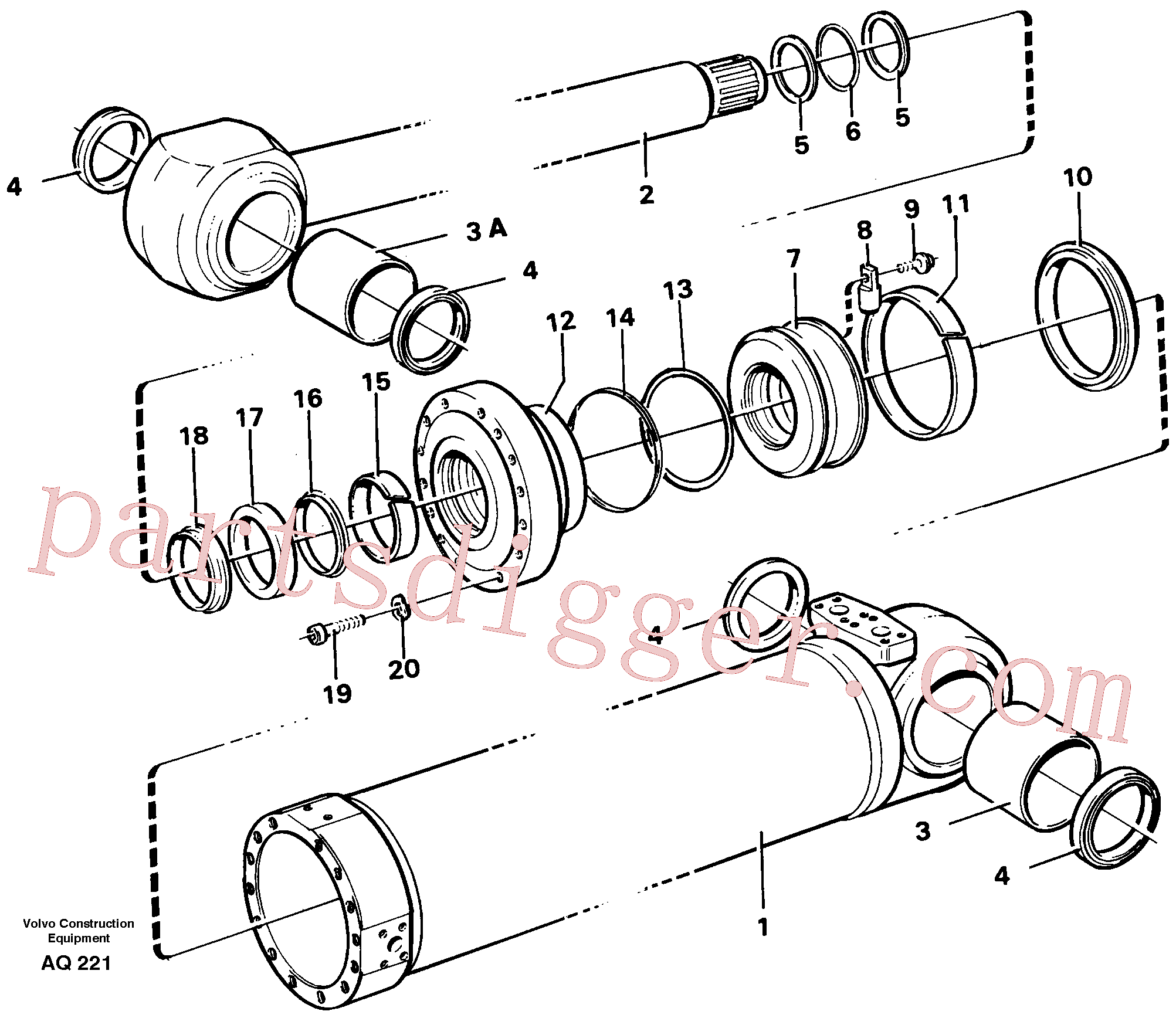 VOE11088320 for Volvo Hydraulic cylinder Tilting(AQ221 assembly)