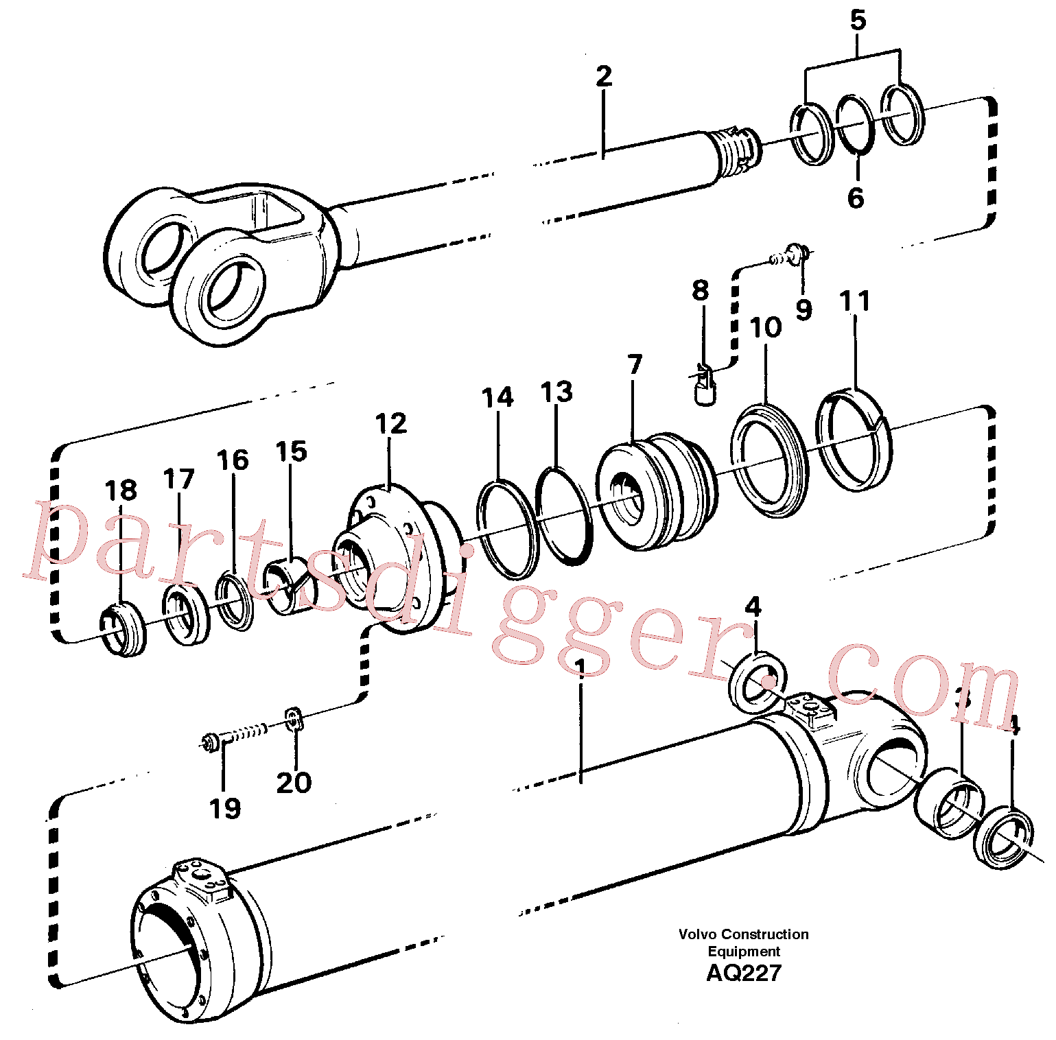 VOE11088467 for Volvo Hydraulic cylinder Lifting(AQ227 assembly)