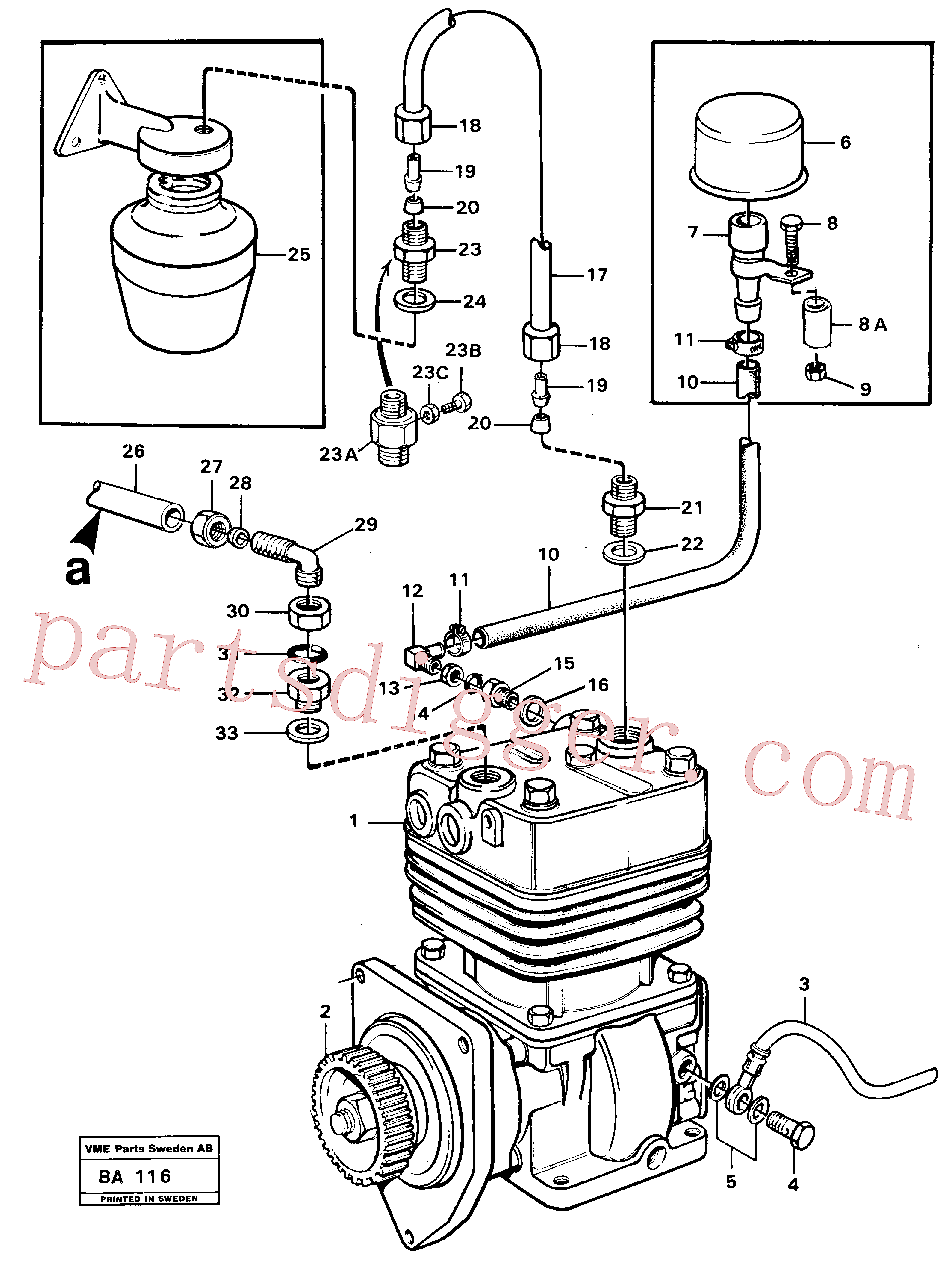 VOE11033540 for Volvo Air-compressor with fitting parts(BA116 assembly)