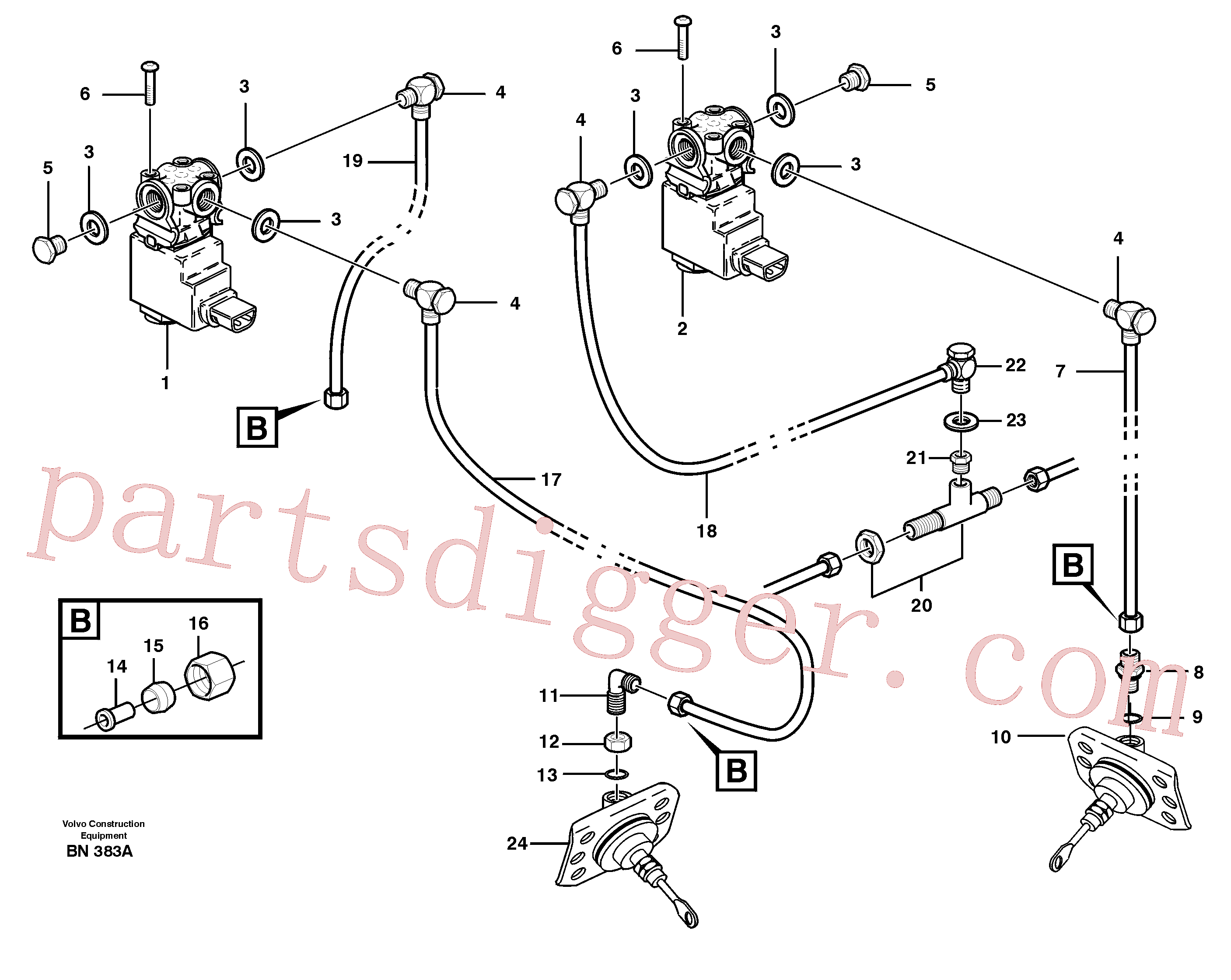 VOE13945460 for Volvo Pneumatic system, diff lock, cab(BN383A assembly)